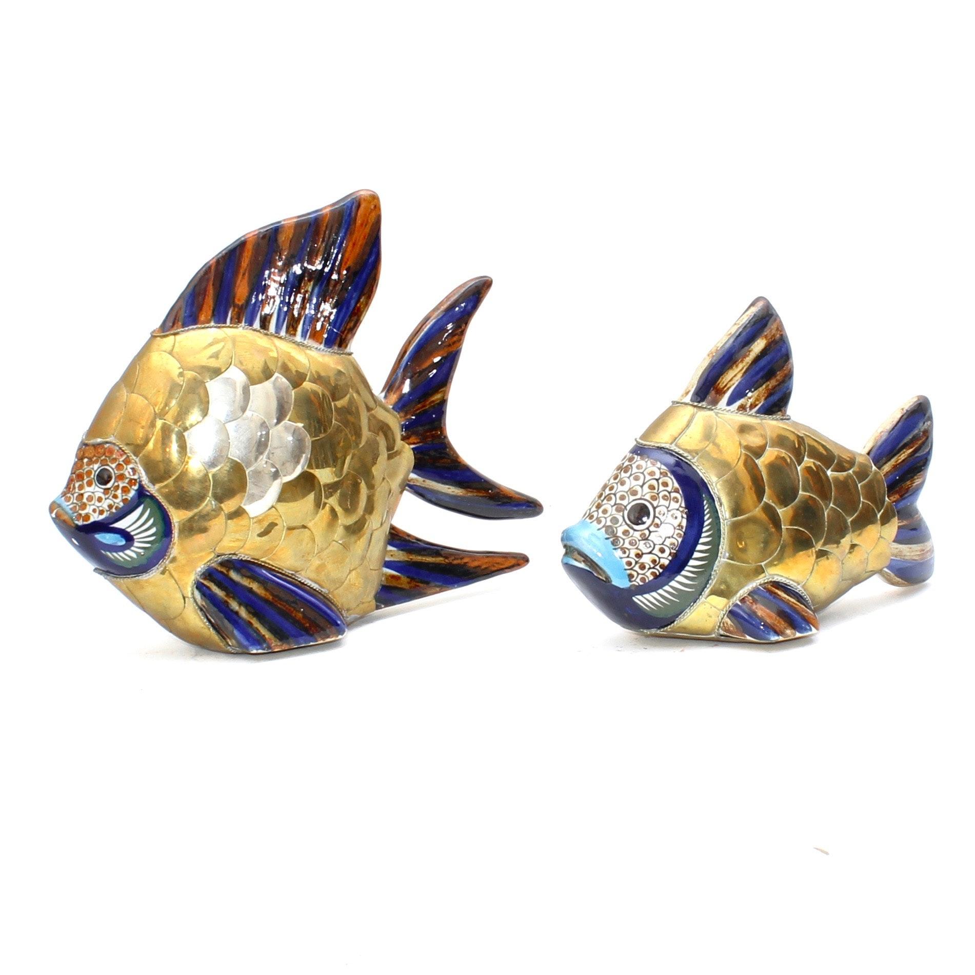 Sergio Bustamante Brass, Copper and Ceramic Fish Sculptures