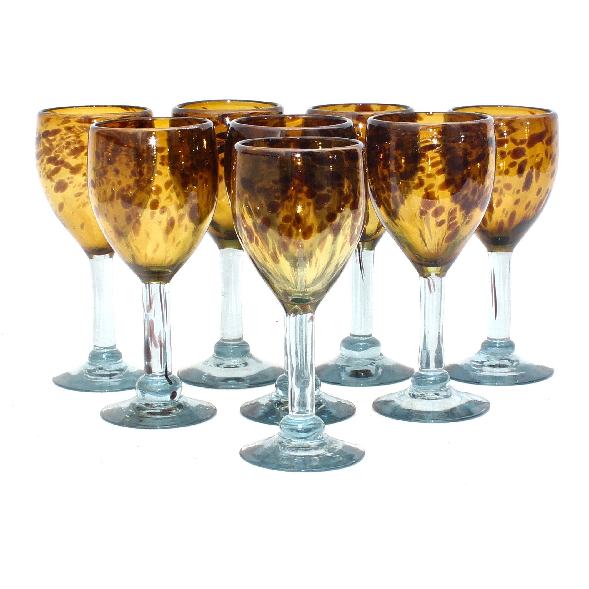 Hand-Blown Tortoiseshell Patterned Wine Glasses