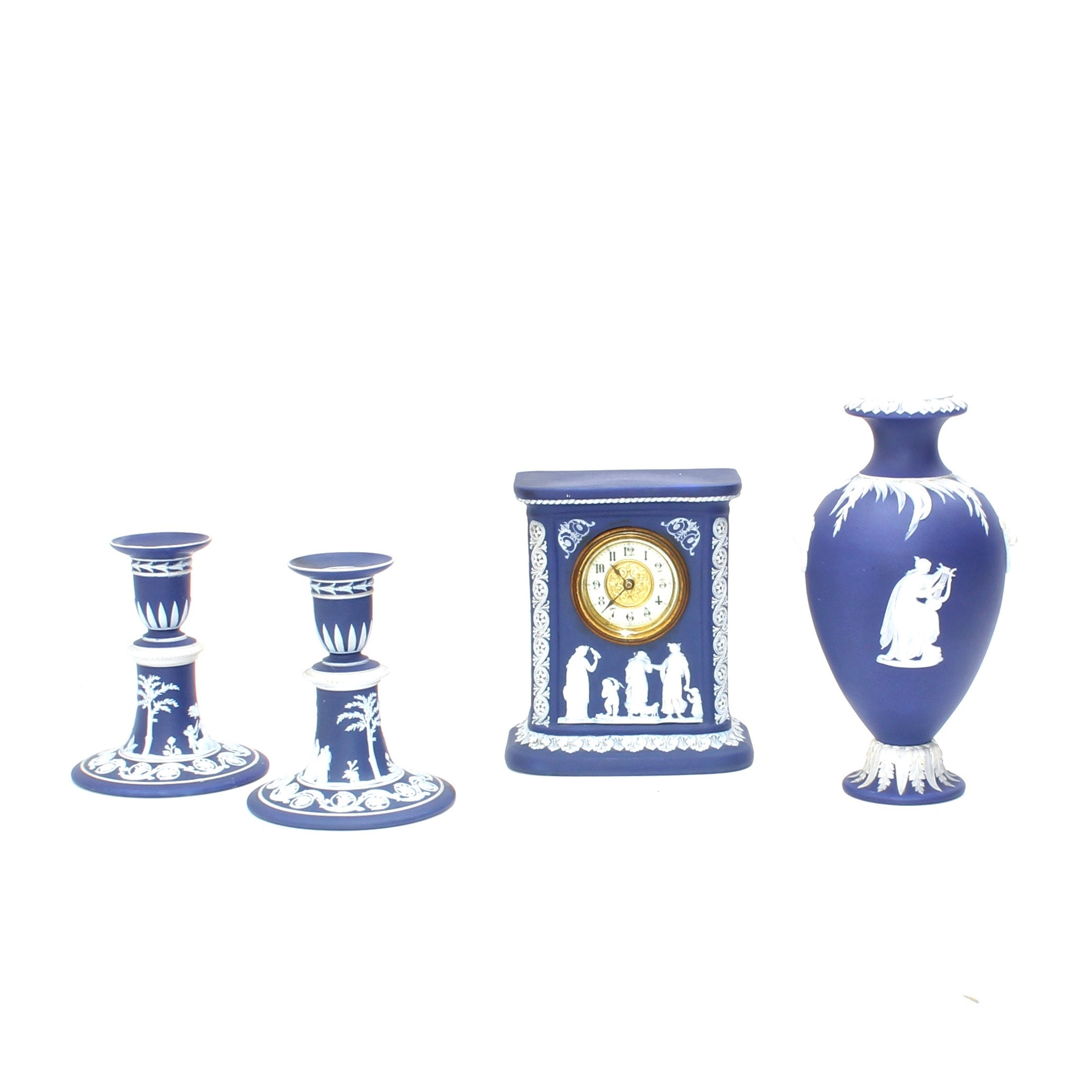 Wedgwood Cobalt Blue Jasper Antique Clock and Vase With Vintage Candlesticks