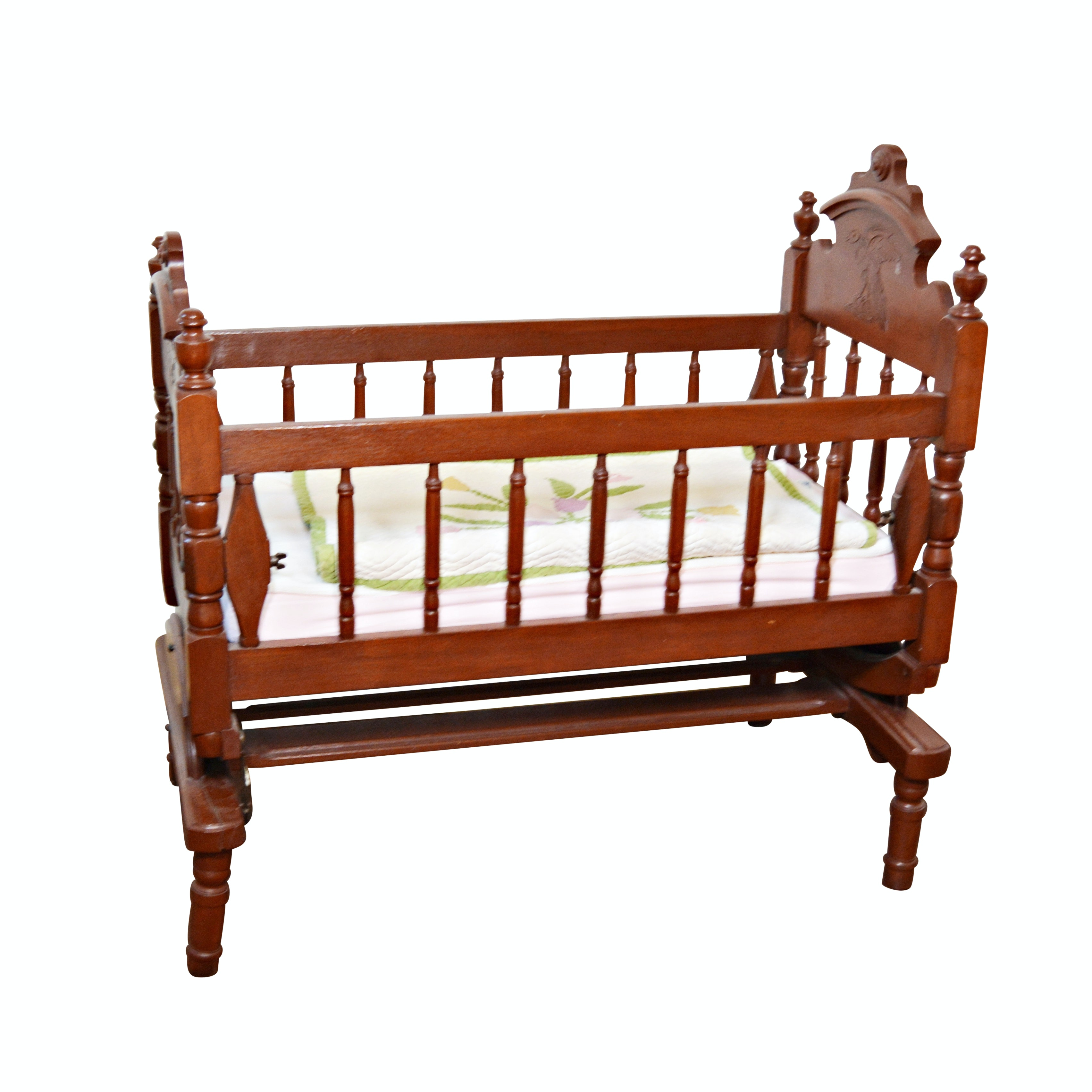 Antique Victorian Walnut Cradle, Early 20th Century