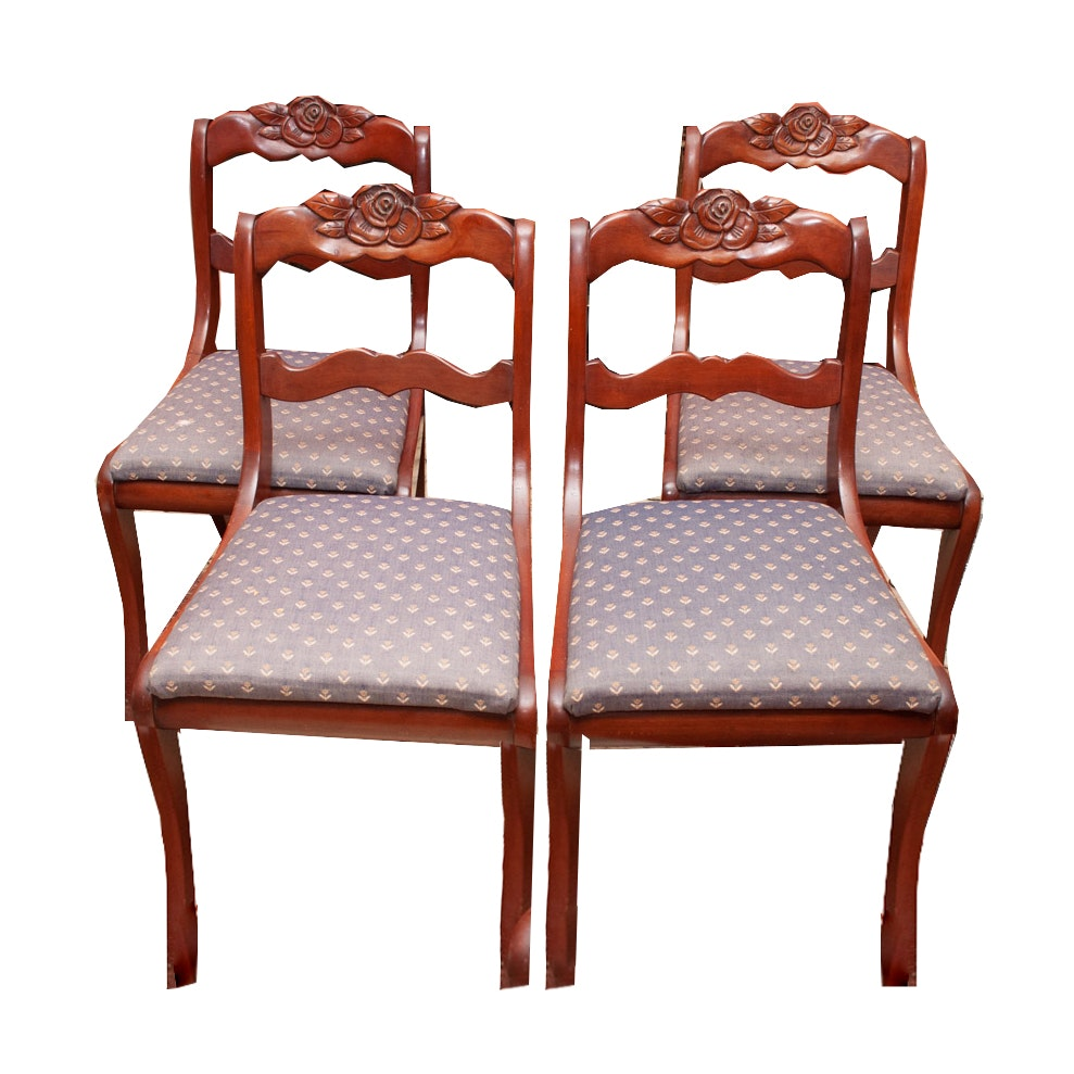 Victorian Style Carved Cherry Dining Chairs by Consider H. Willett Furniture