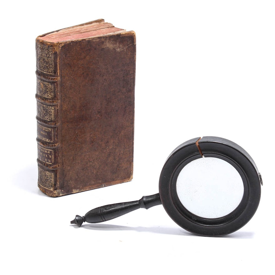 Antique Leather-bound Book with Secret Compartment and Antique Hand ...