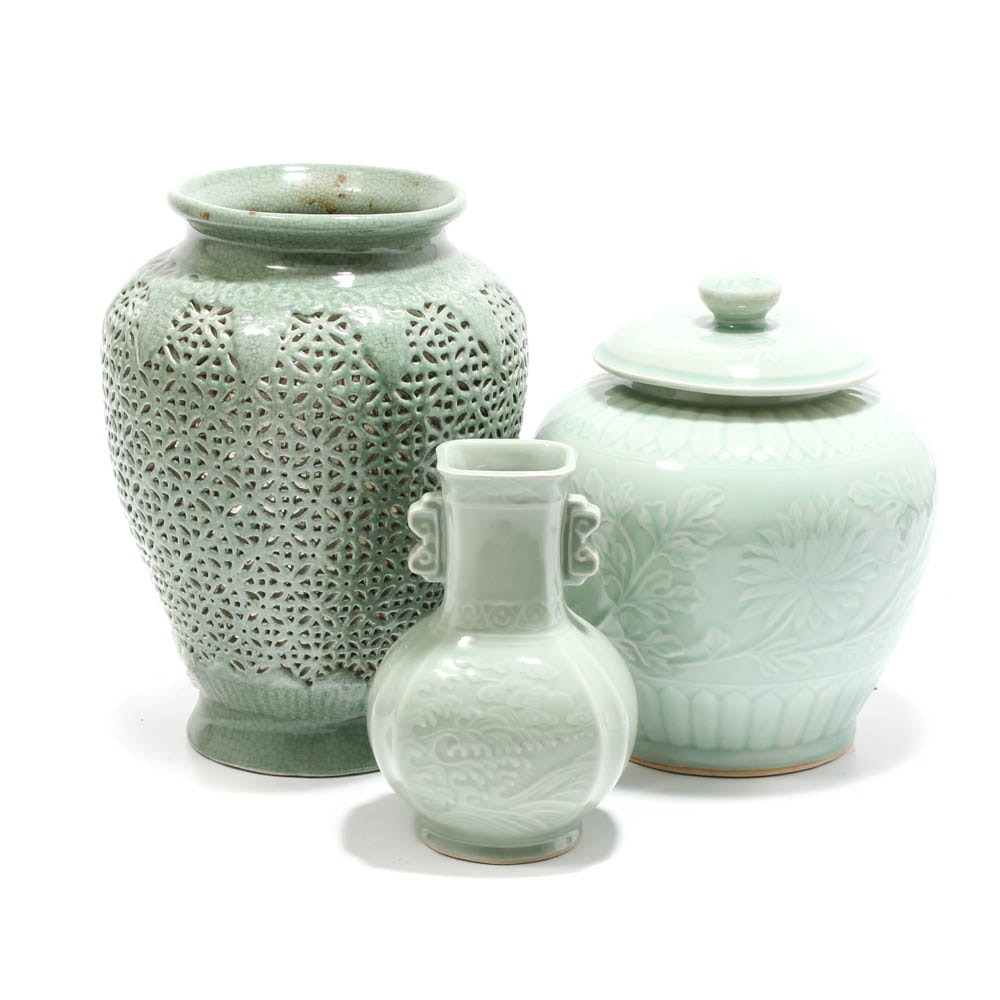 Chinese Celadon Ceramic Vases