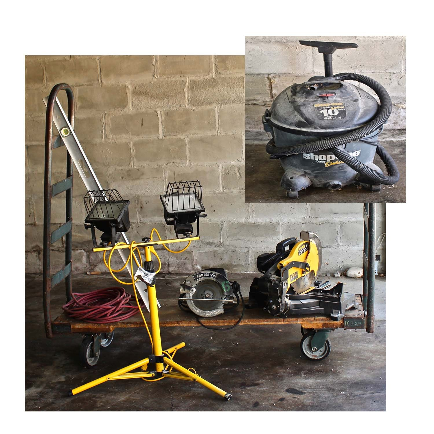 Power Tools Including Saws, Lights and Cart