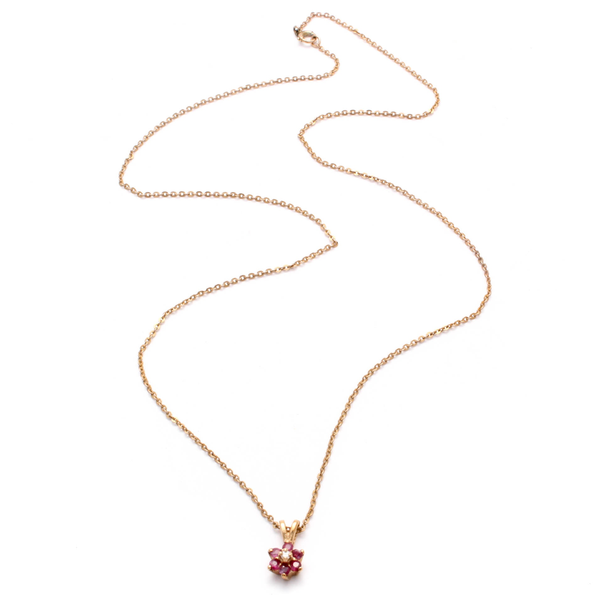 10K Yellow Gold Ruby and Diamond Pendant Necklace