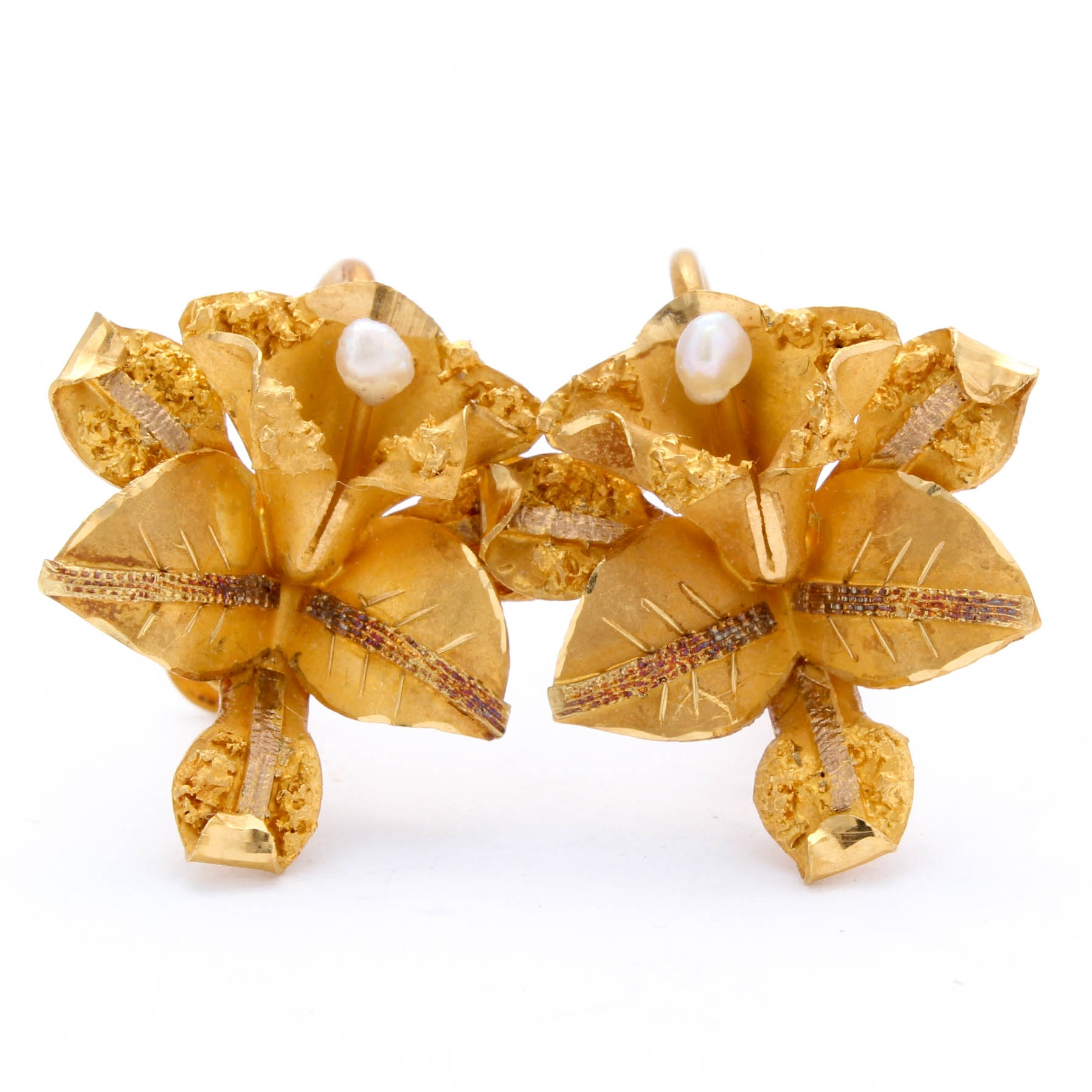 18K Yellow Gold Seed Pearl Leaf Earrings