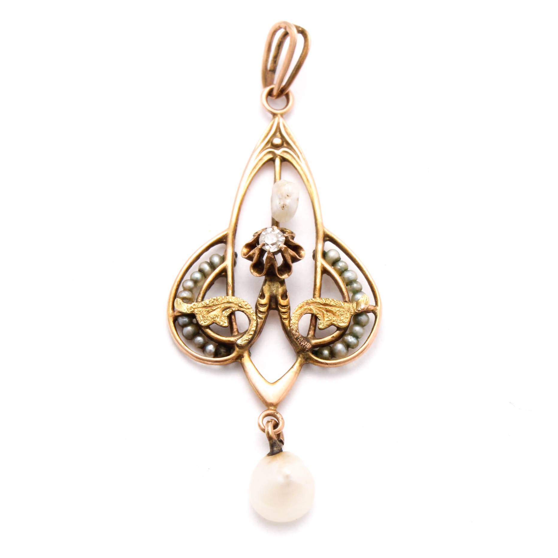 Vintage 10K Yellow Gold Seed Pearl and Diamond Pendant