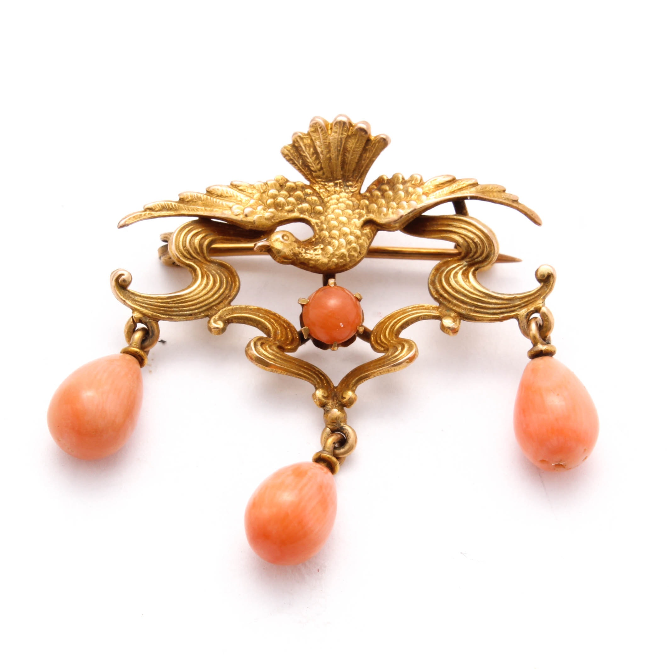 Antique 10K Yellow Gold Coral Brooch