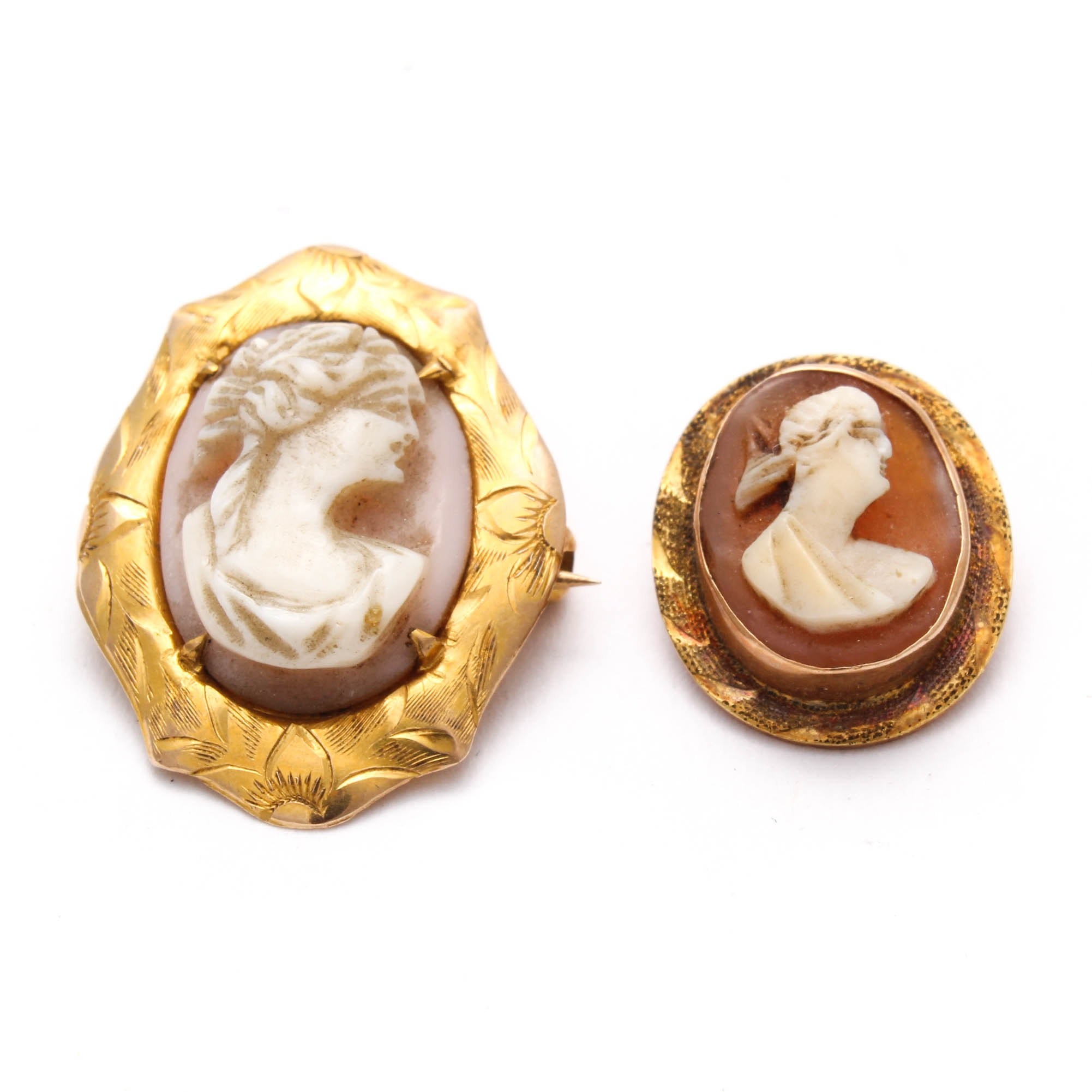 Vintage 10K Yellow Gold Shell Cameo Brooches