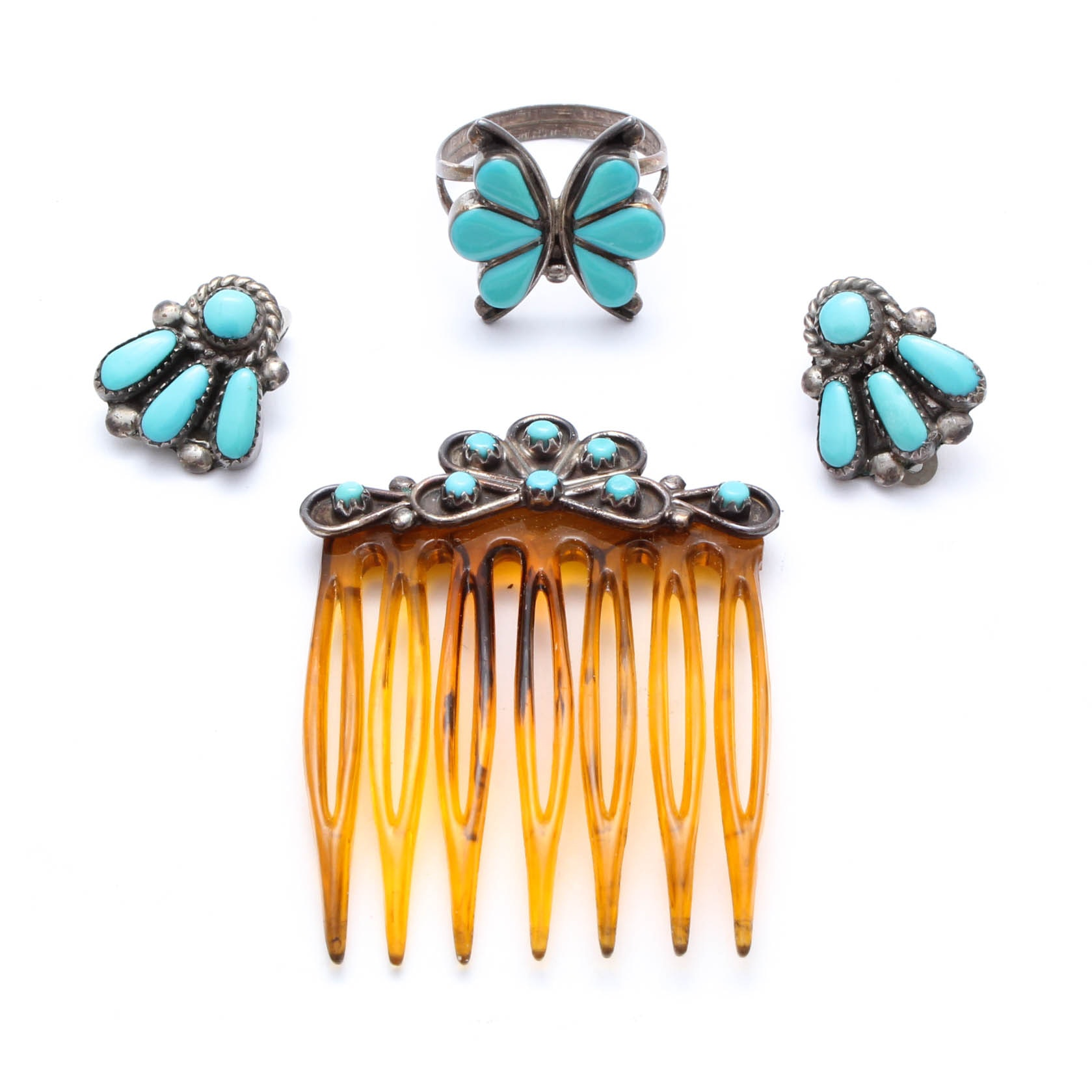 Sterling Silver Synthetic Turquoise Jewelry Featuring Bill & Lou Laweka Zuni