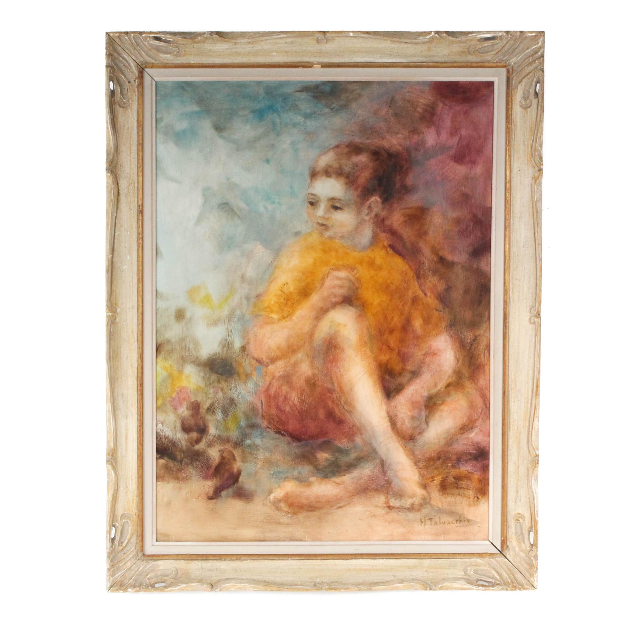 Helen Talvacchio Oil  Portrait Painting Circa 1959
