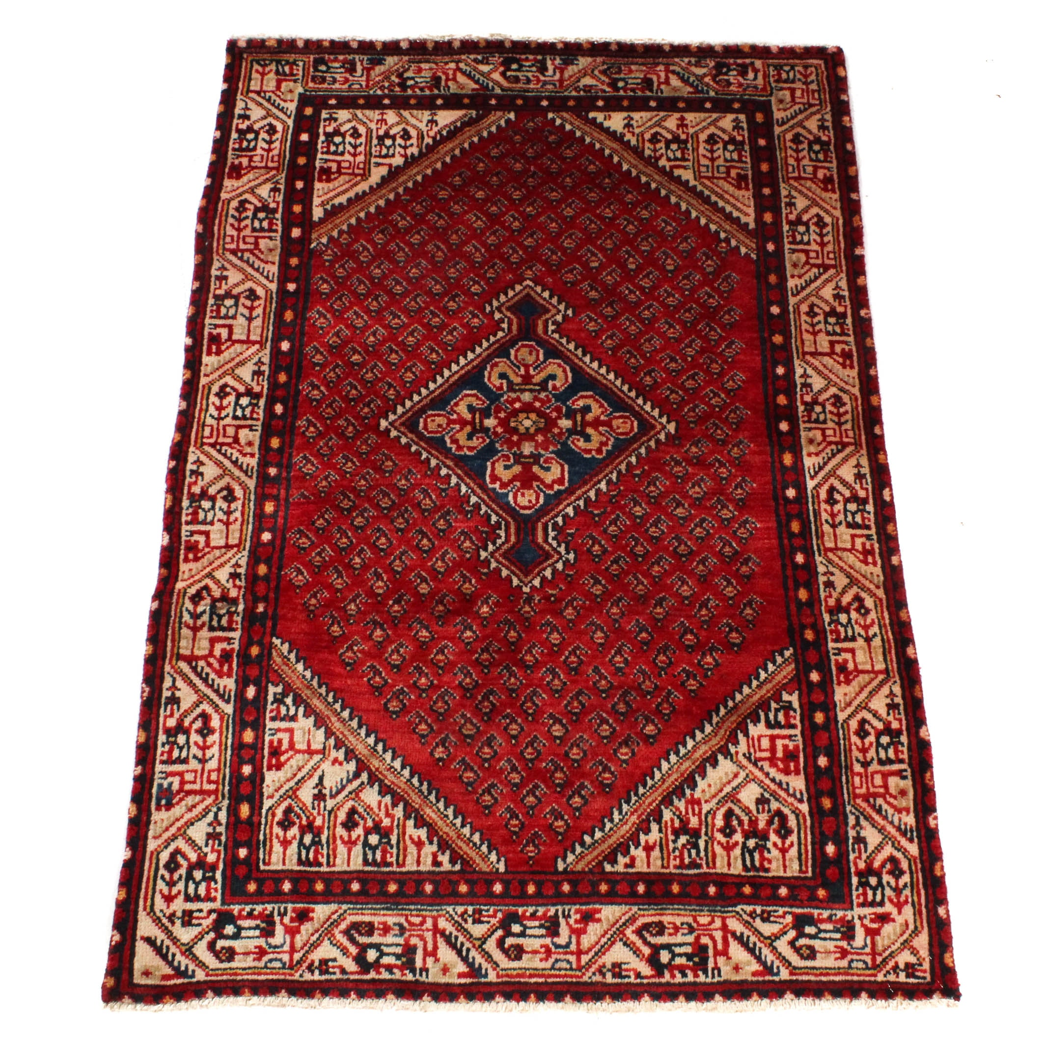 Hand-Knotted Persian Boteh Sarouk Rug