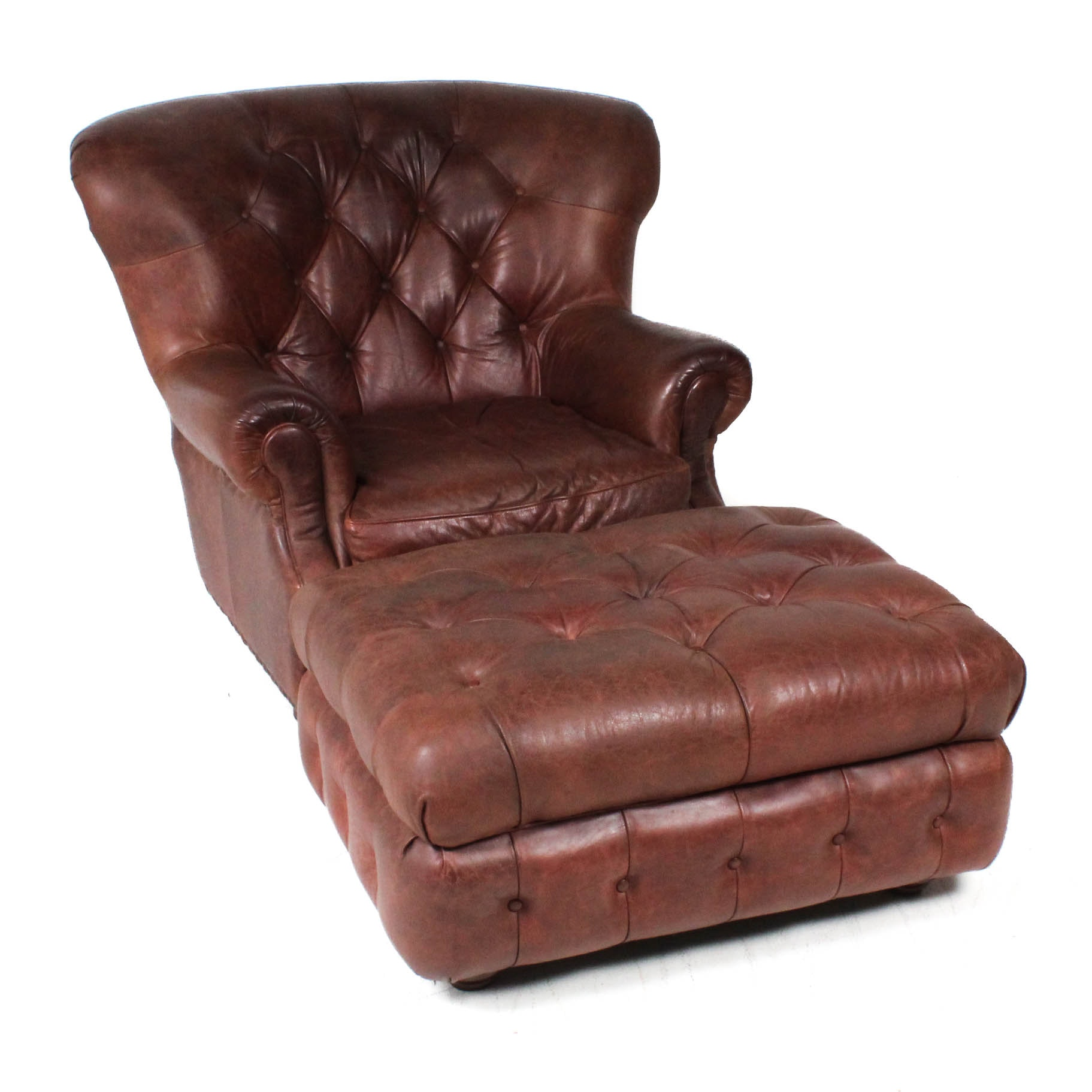 Italian Leather Chair and Ottoman