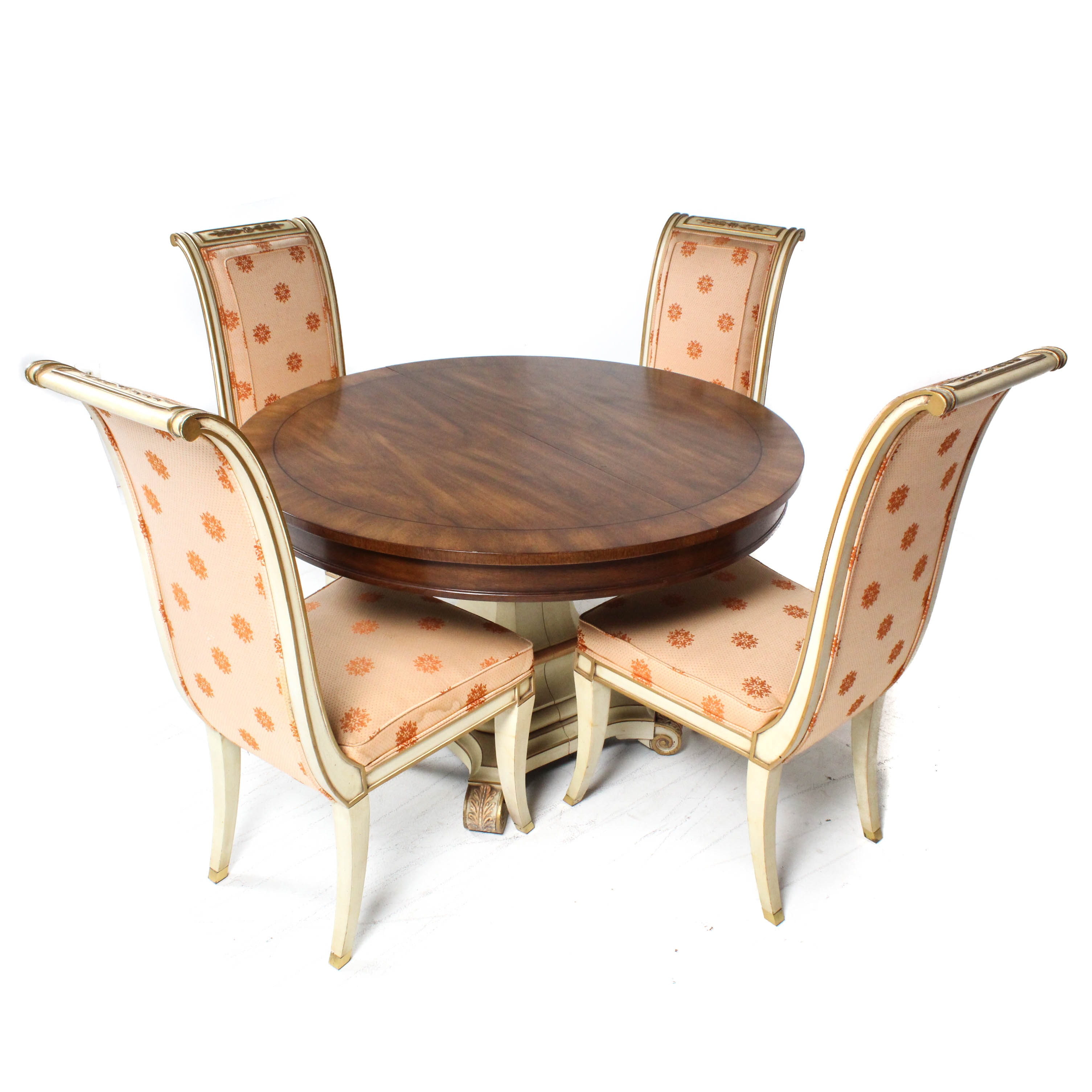 Dining Table and Karges Upholstered Side Chairs