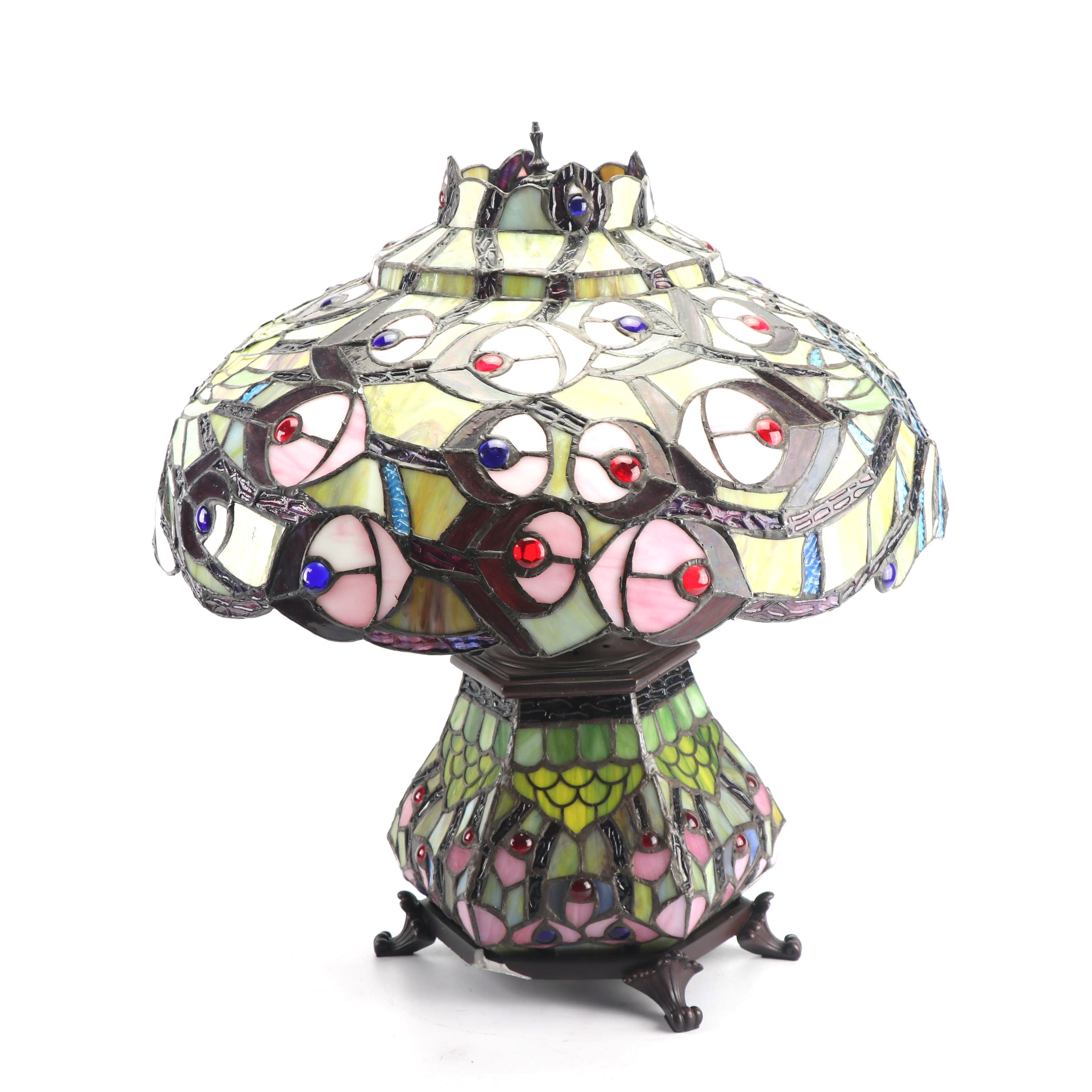 Contemporary Slag Glass Lamp with Peacock Motif