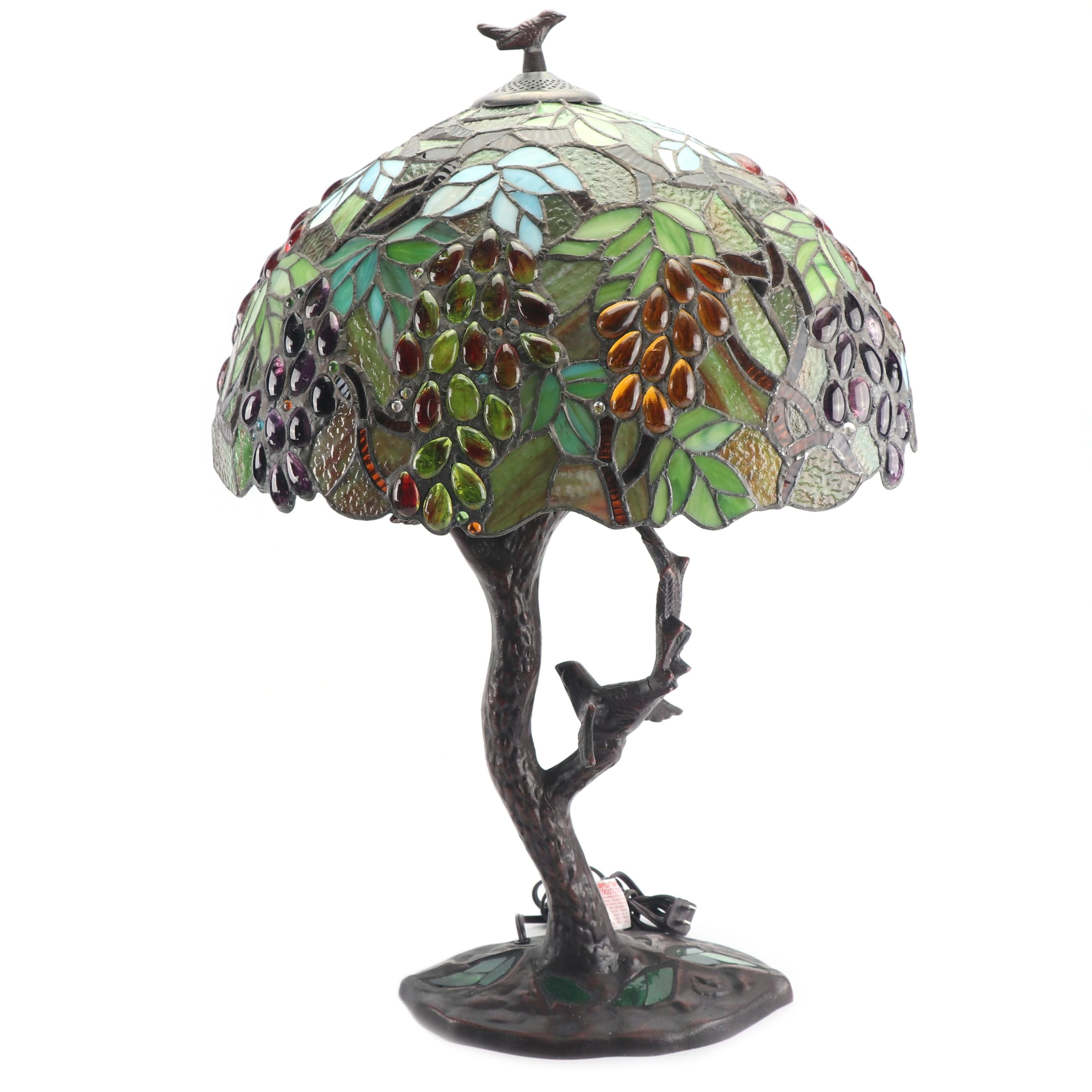 Stained and Slag Glass Lamp with Bird Finial