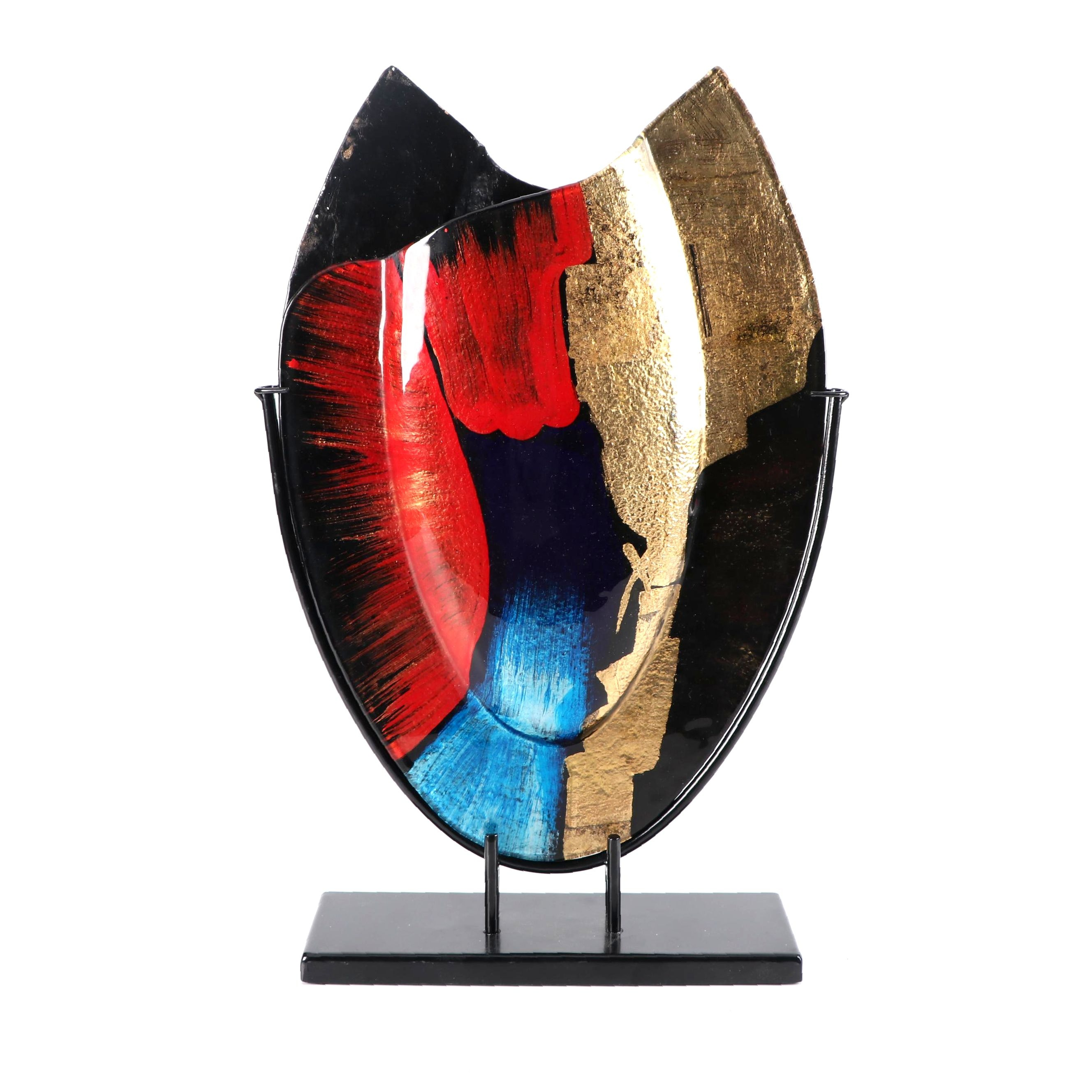 Modern Fused Glass Vase with Metal Stand