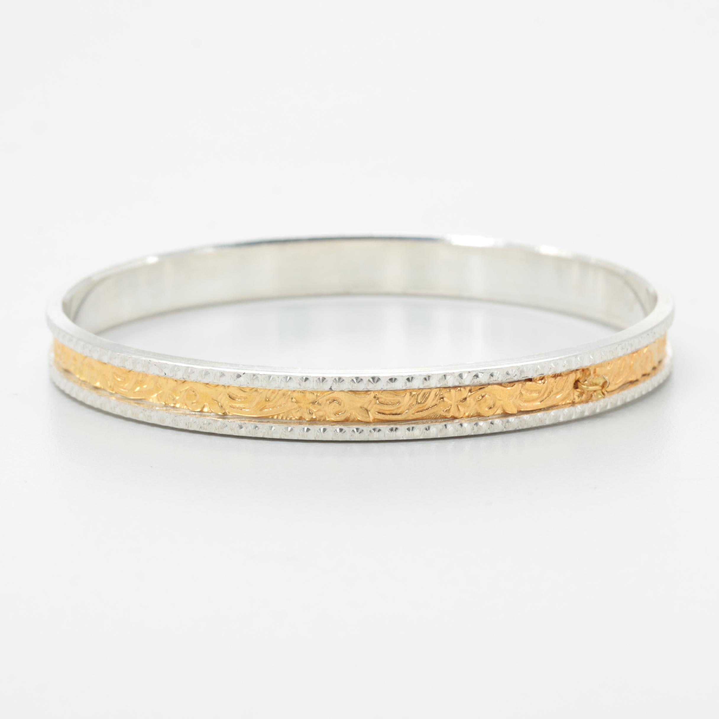 Sterling Silver and 10K Yellow Gold Bangle Bracelet