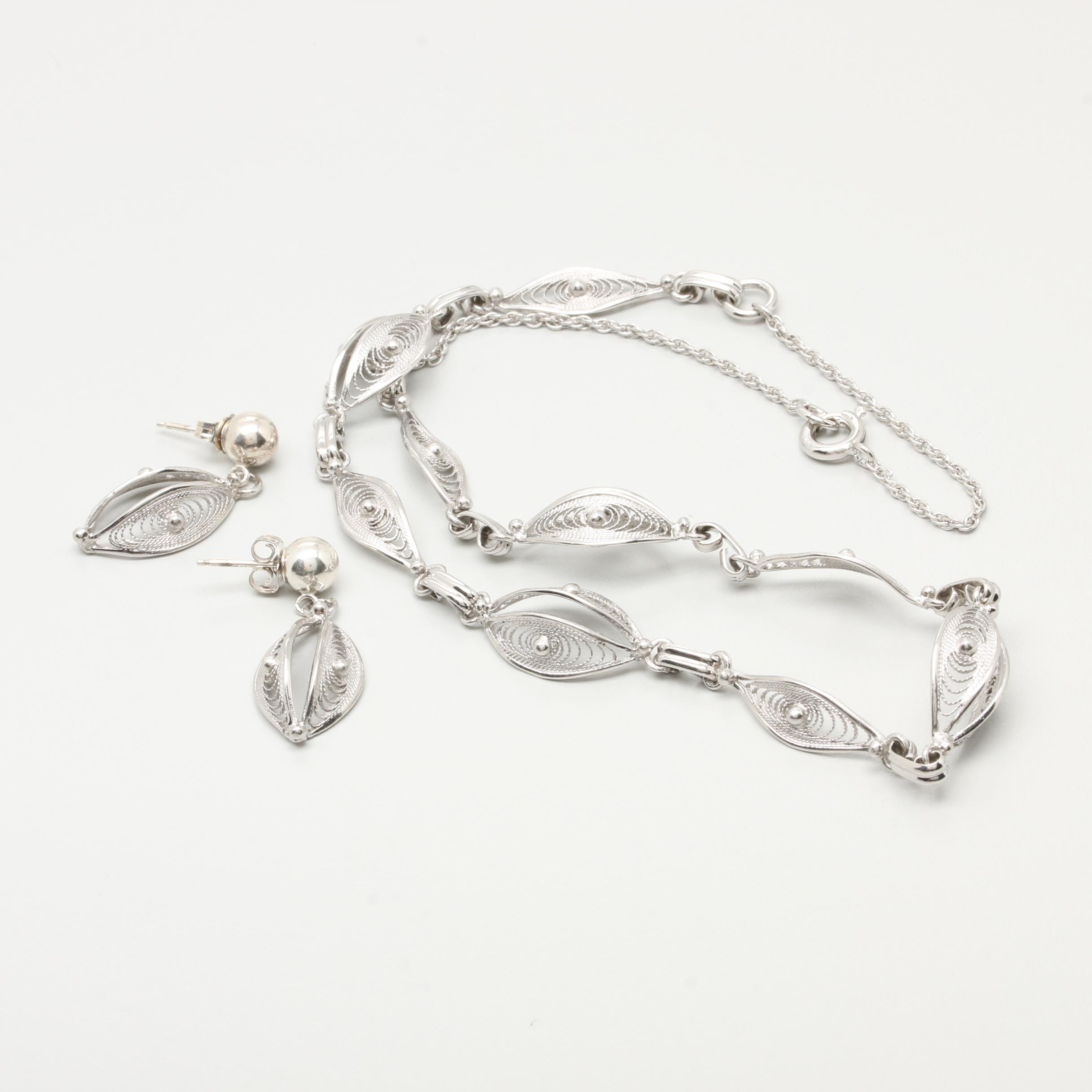 Sterling Silver Openwork Necklace and Earring Selection