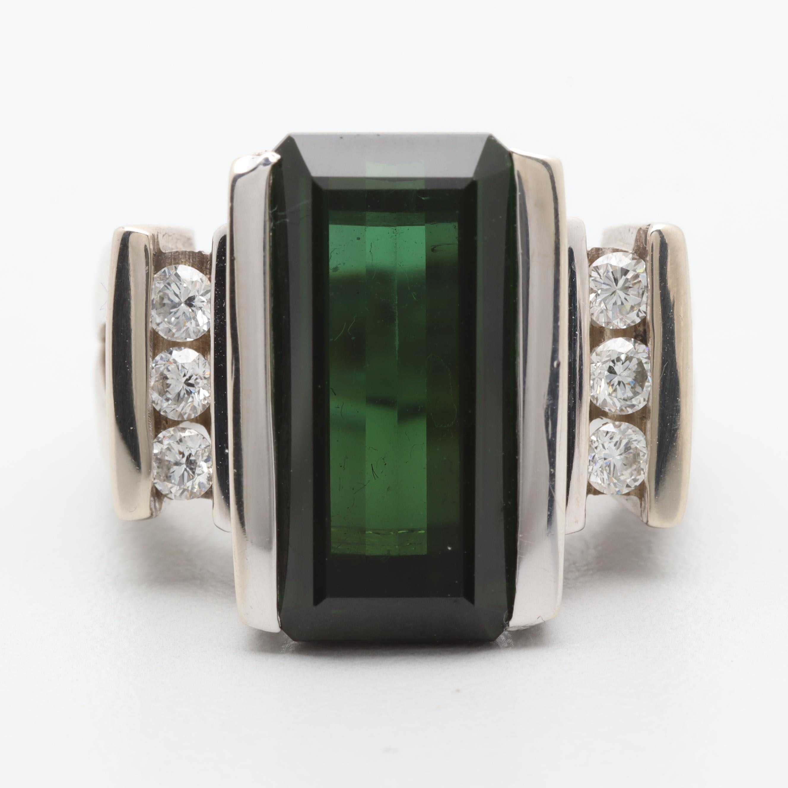 14K White Gold 7.14 CT Green Tourmaline and Diamond Ring