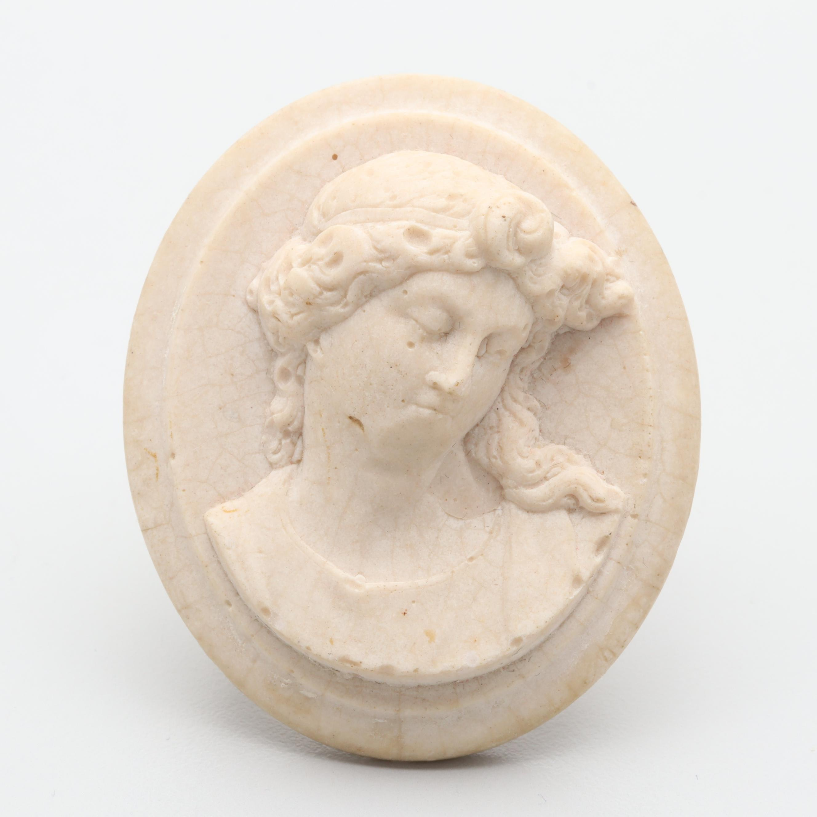 Victorian Marble Cameo Brooch