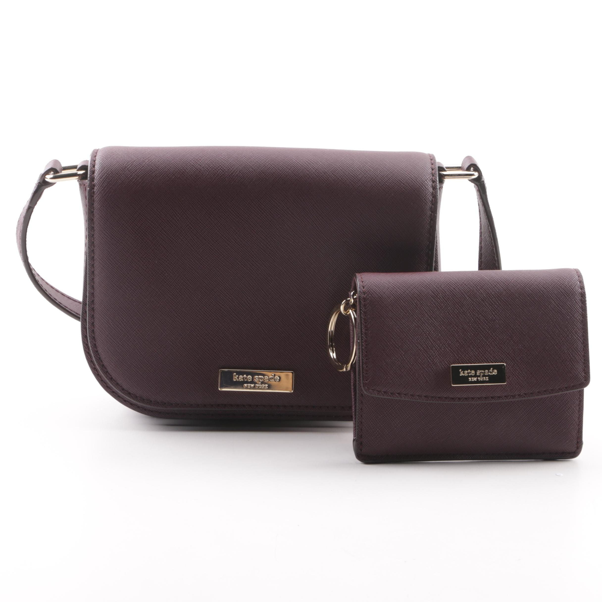 Kate Spade New York Deep Plum Coated Canvas Crossbody with Matching Wallet