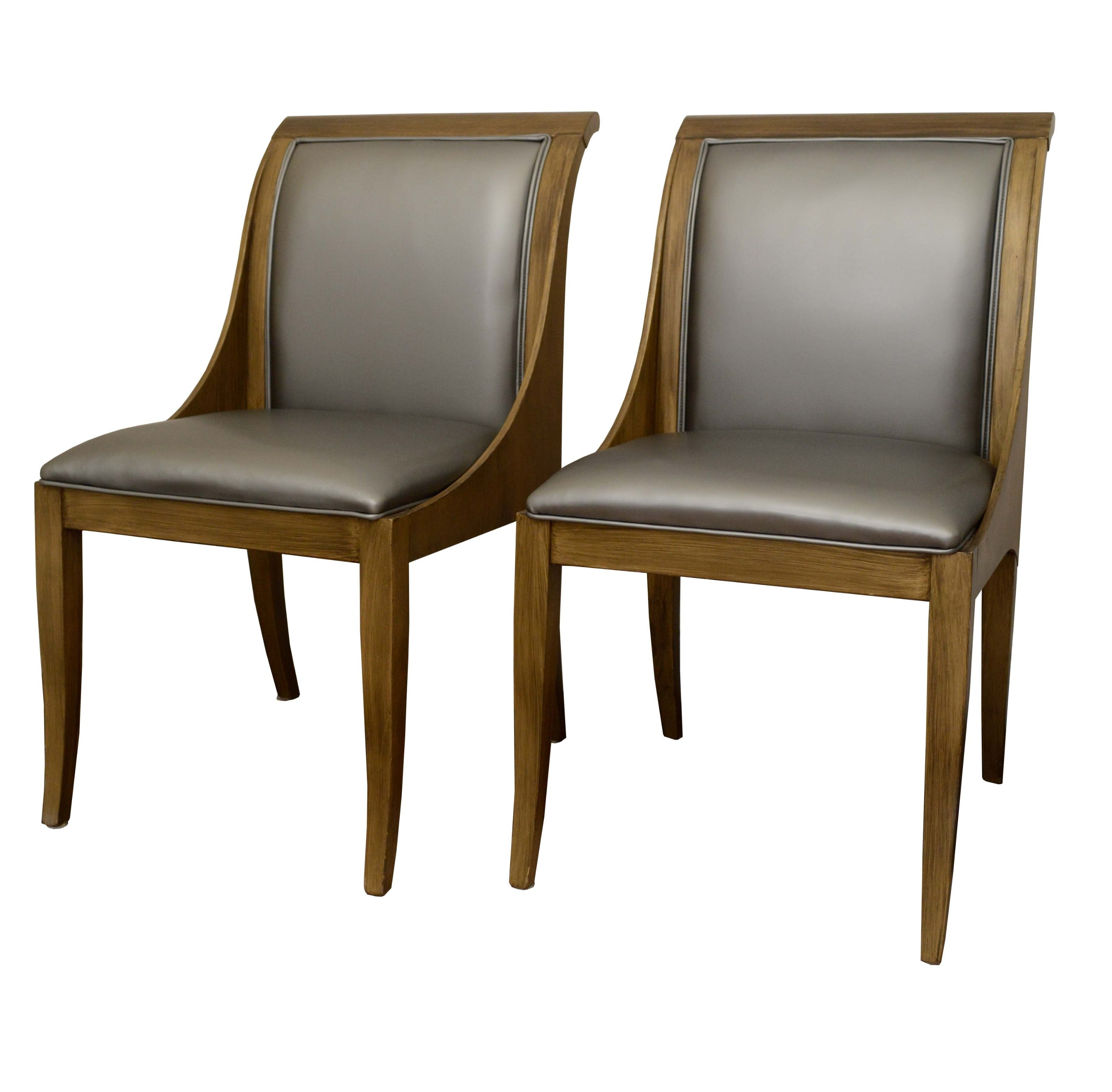 Contemporary Vinyl Upholstered Dining Chairs