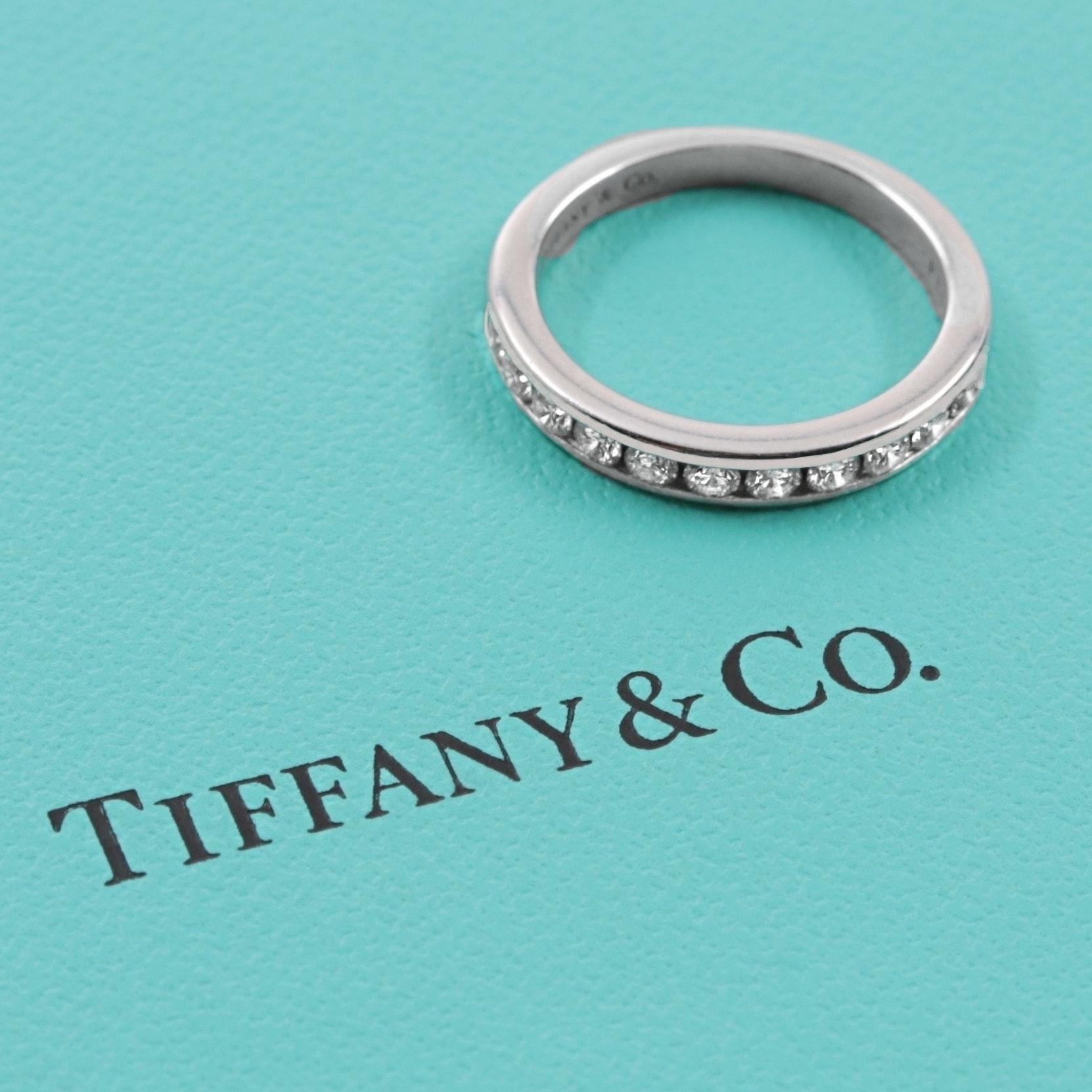 Tiffany & Co.  Platinum Diamond Half Circle Eternity Ring