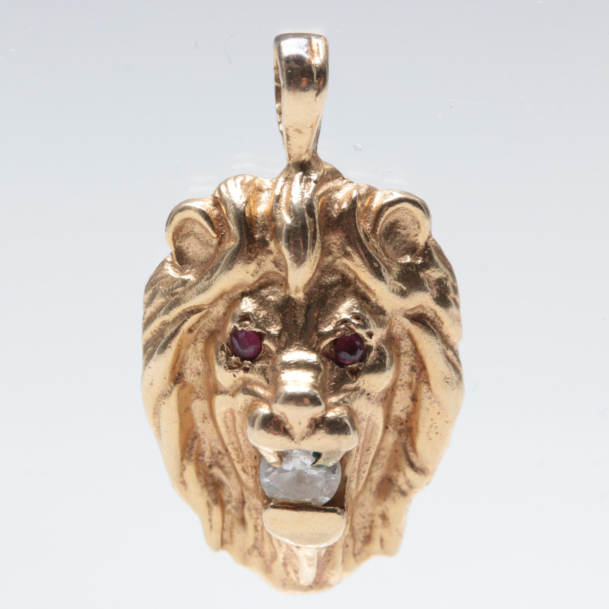14K Yellow Gold Diamond and Ruby Lion Head Pendant