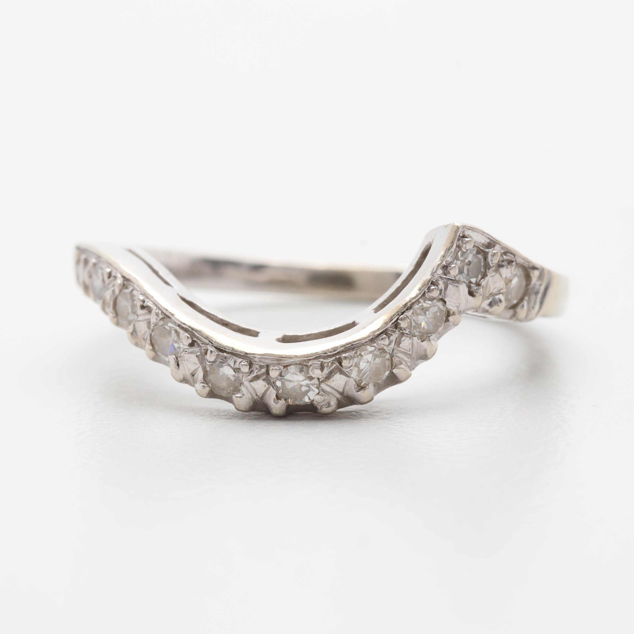 14K White Gold Diamond Freeform Ring