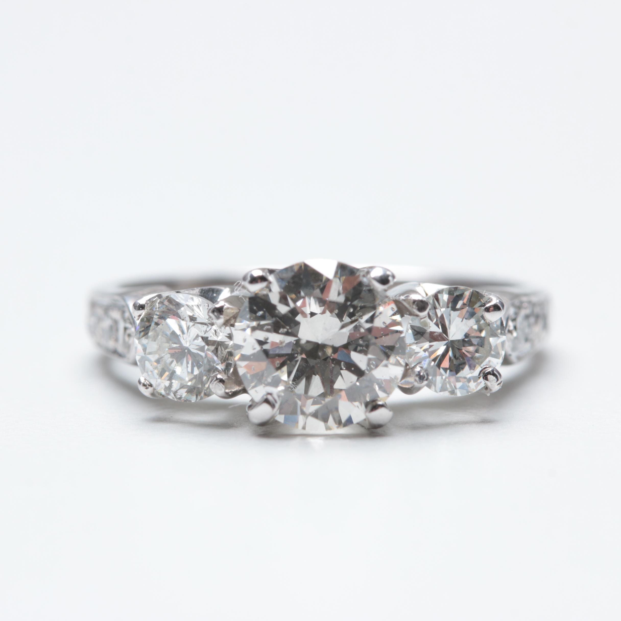 14K White Gold 1.78 CTW Diamond Ring