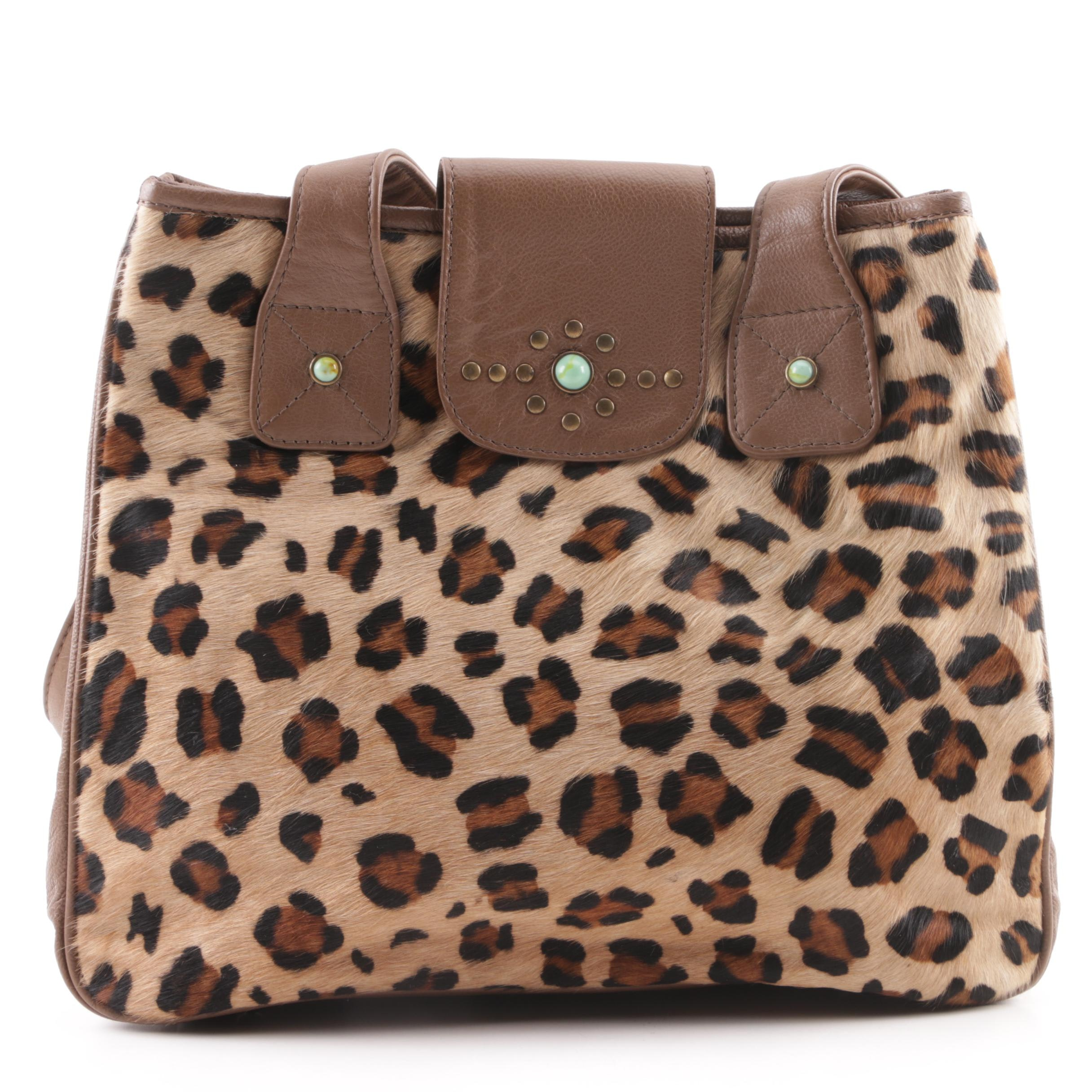 Tasha Polizzi Collection Brown Leather Shoulder Bag with Leopard Print Pony Hair