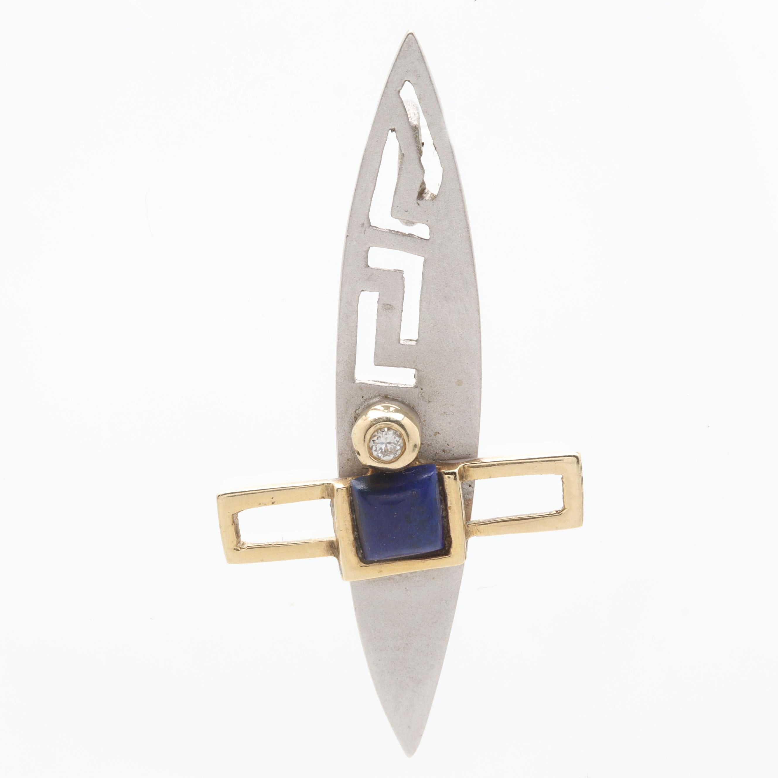 Contemporary 14K White and Yellow Gold Lapis Lazuli and Diamond Pendant