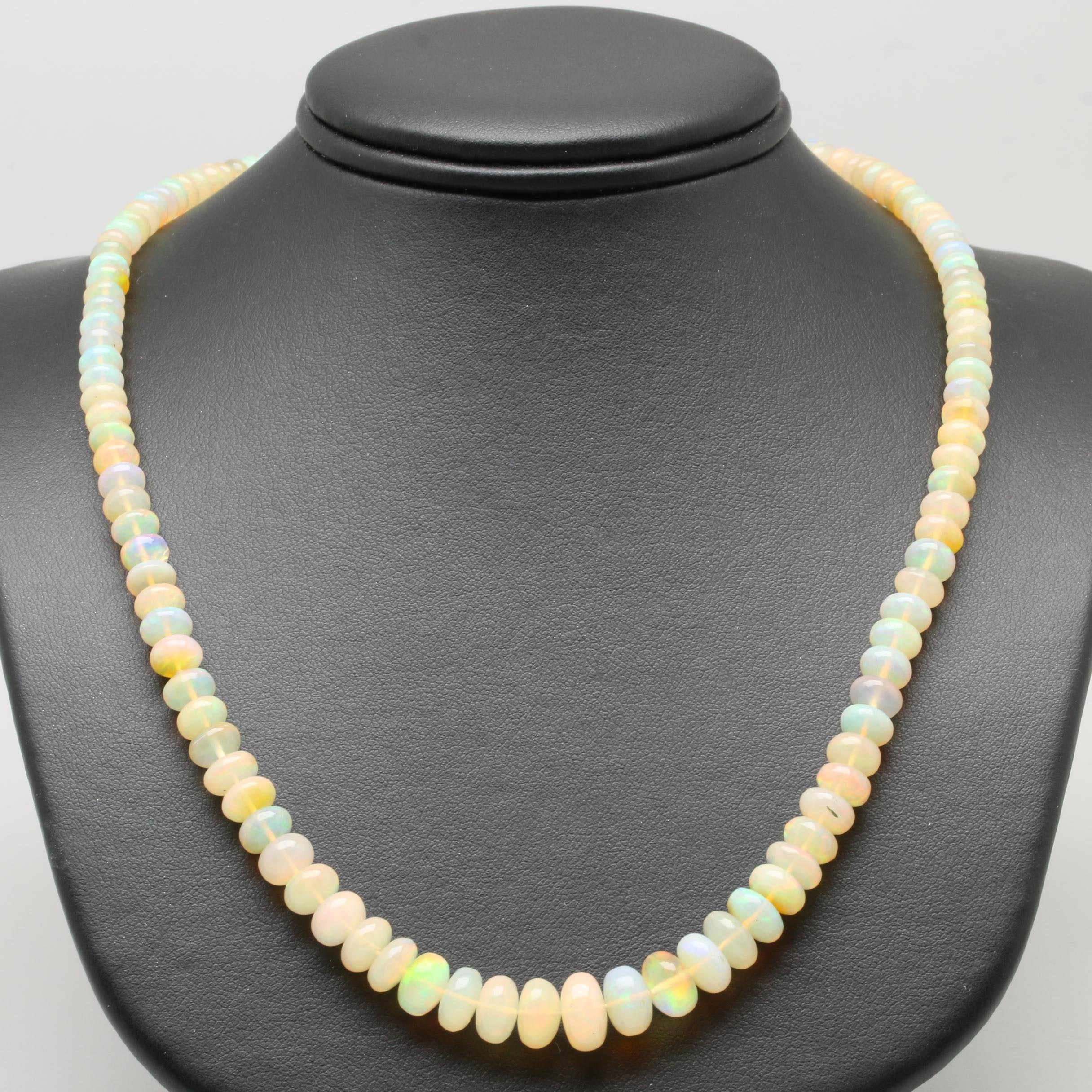 14K Yellow Gold Jelly Opal Beaded Necklace