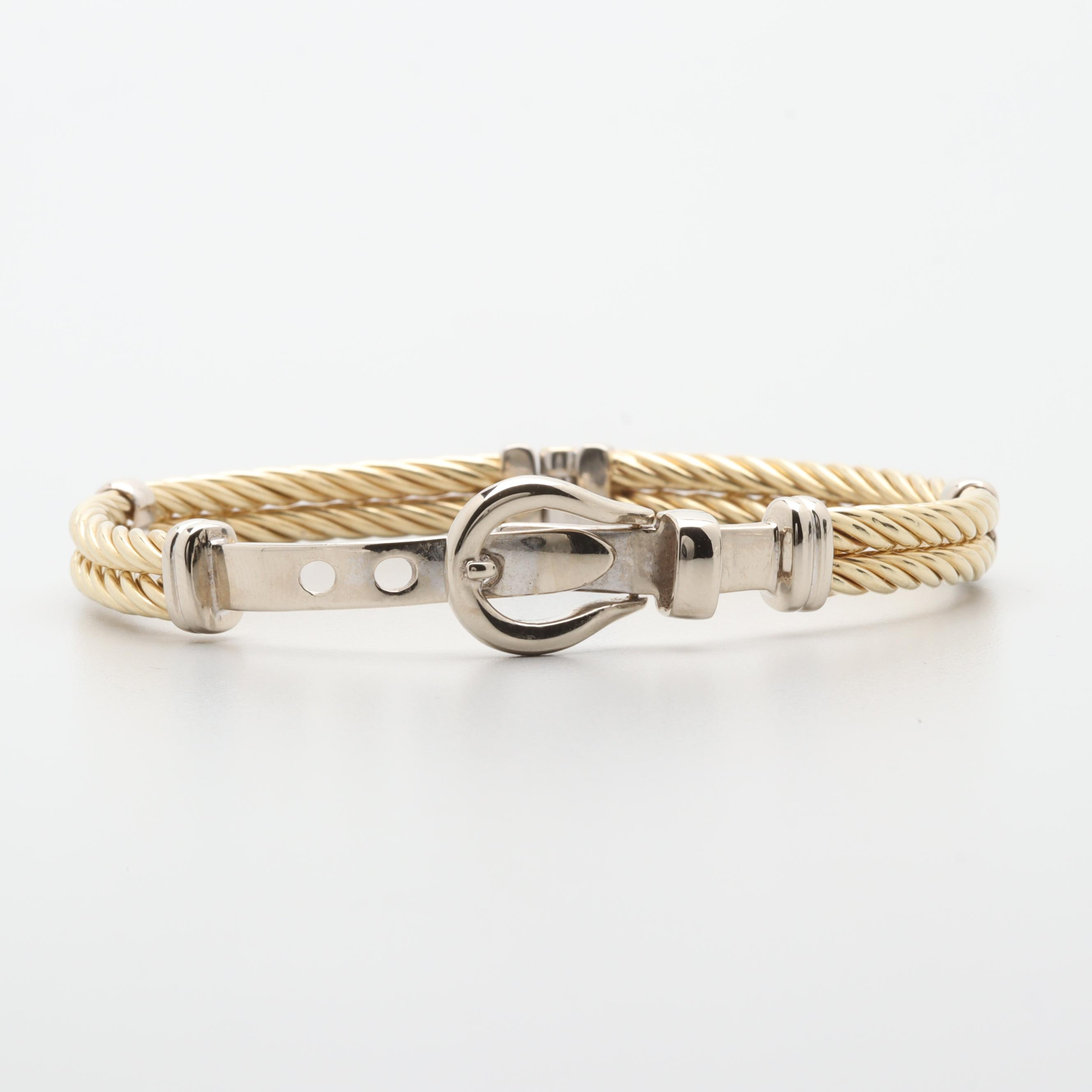 14K Two Tone Gold Twisted Cable Buckle Bracelet
