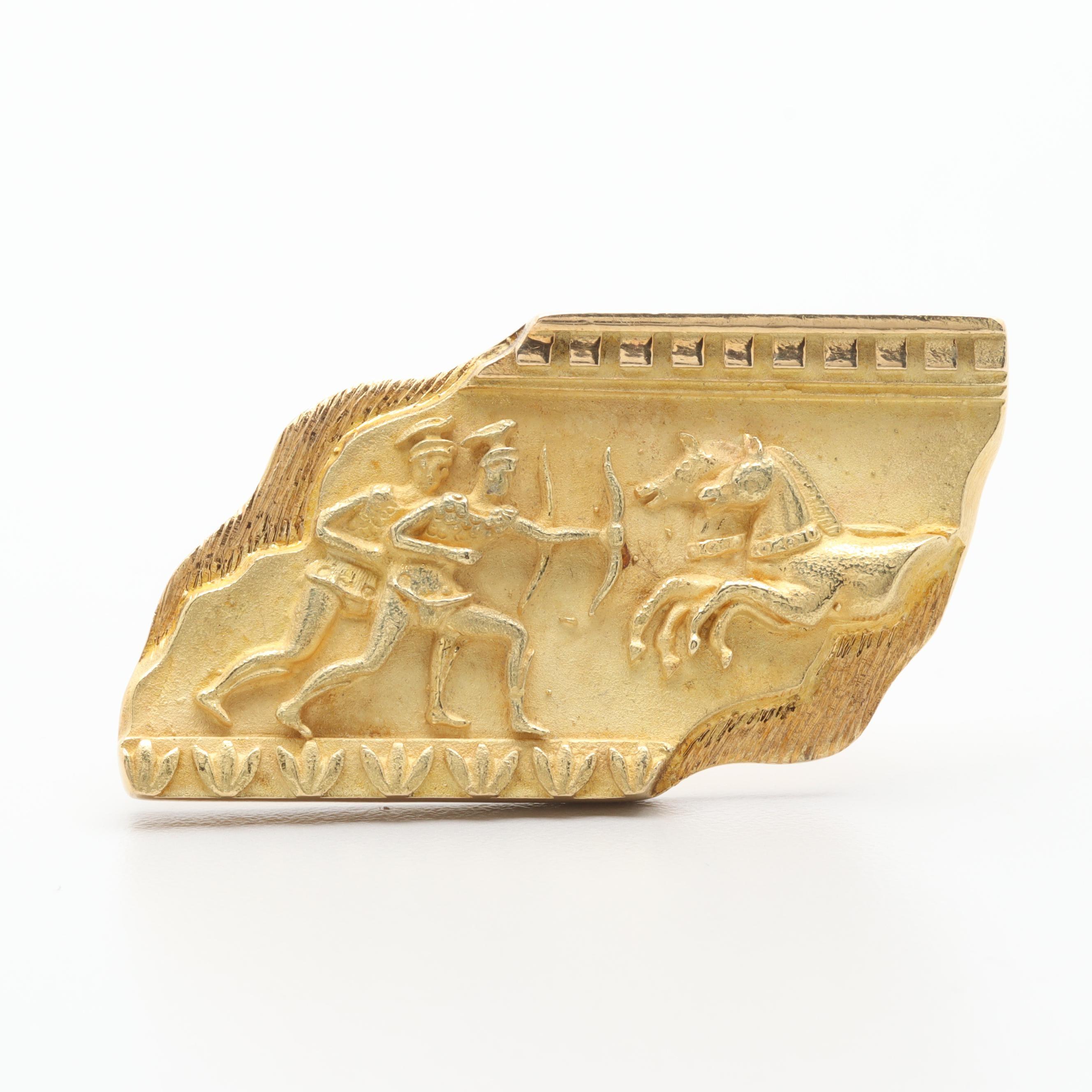 Greek 18K Yellow Gold Brooch