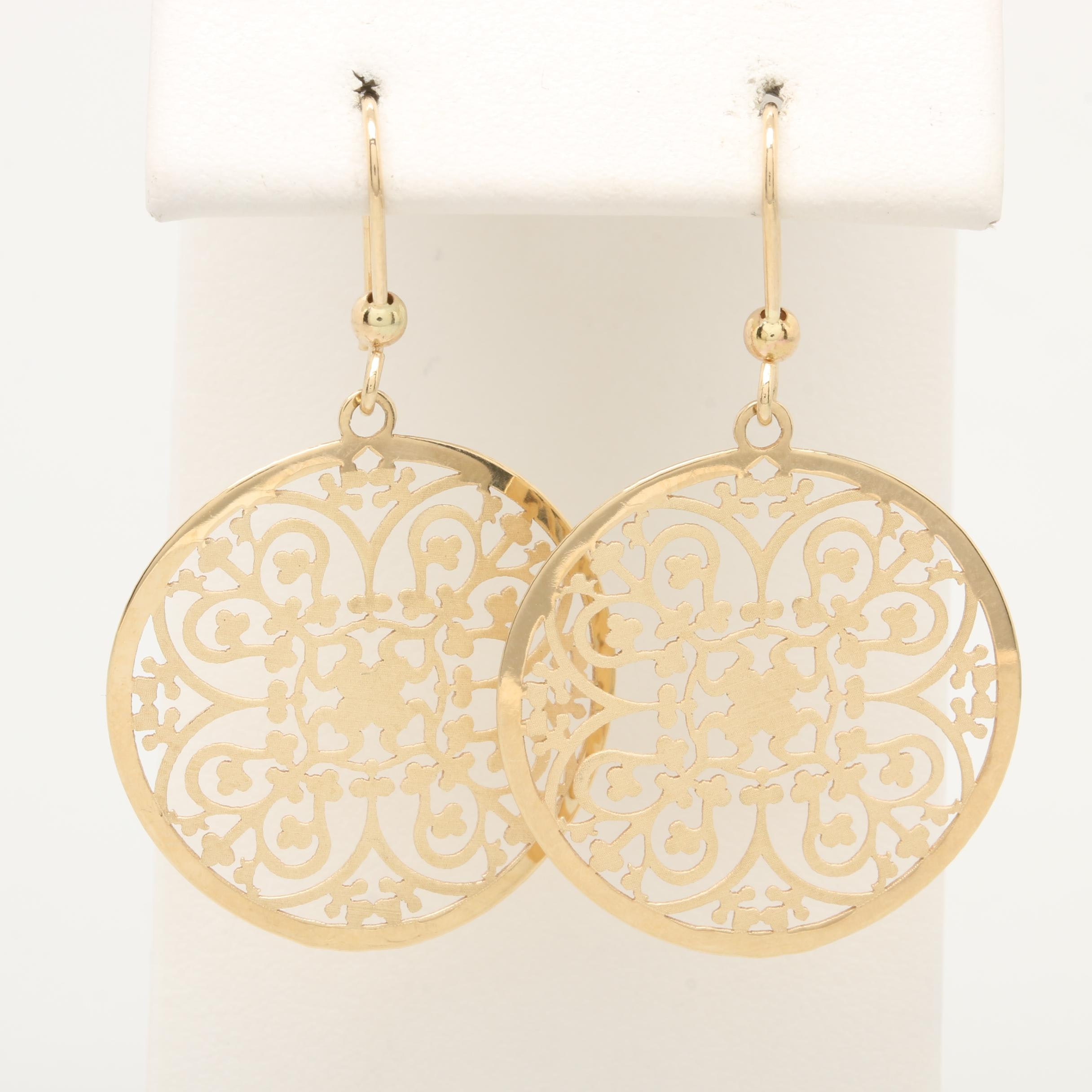 14K Yellow Gold Openwork Dangle Earrings