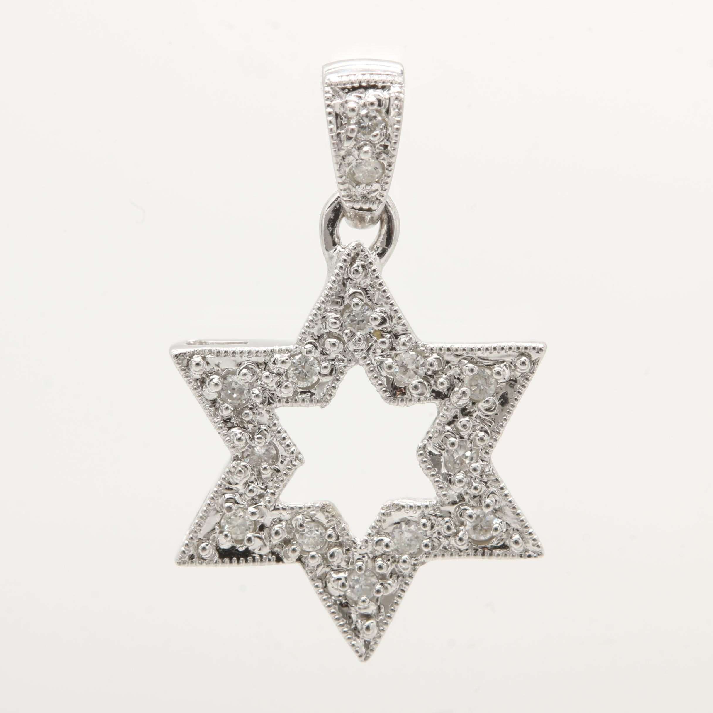 18K White Gold Diamond Star of David Pendant