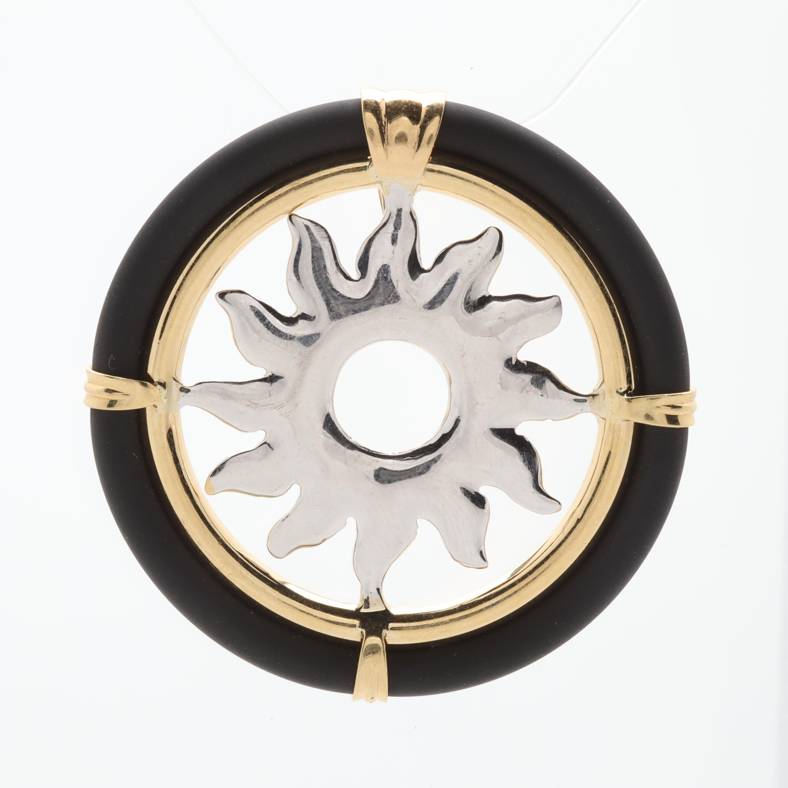 18K White and Yellow Gold Rubber Pendant
