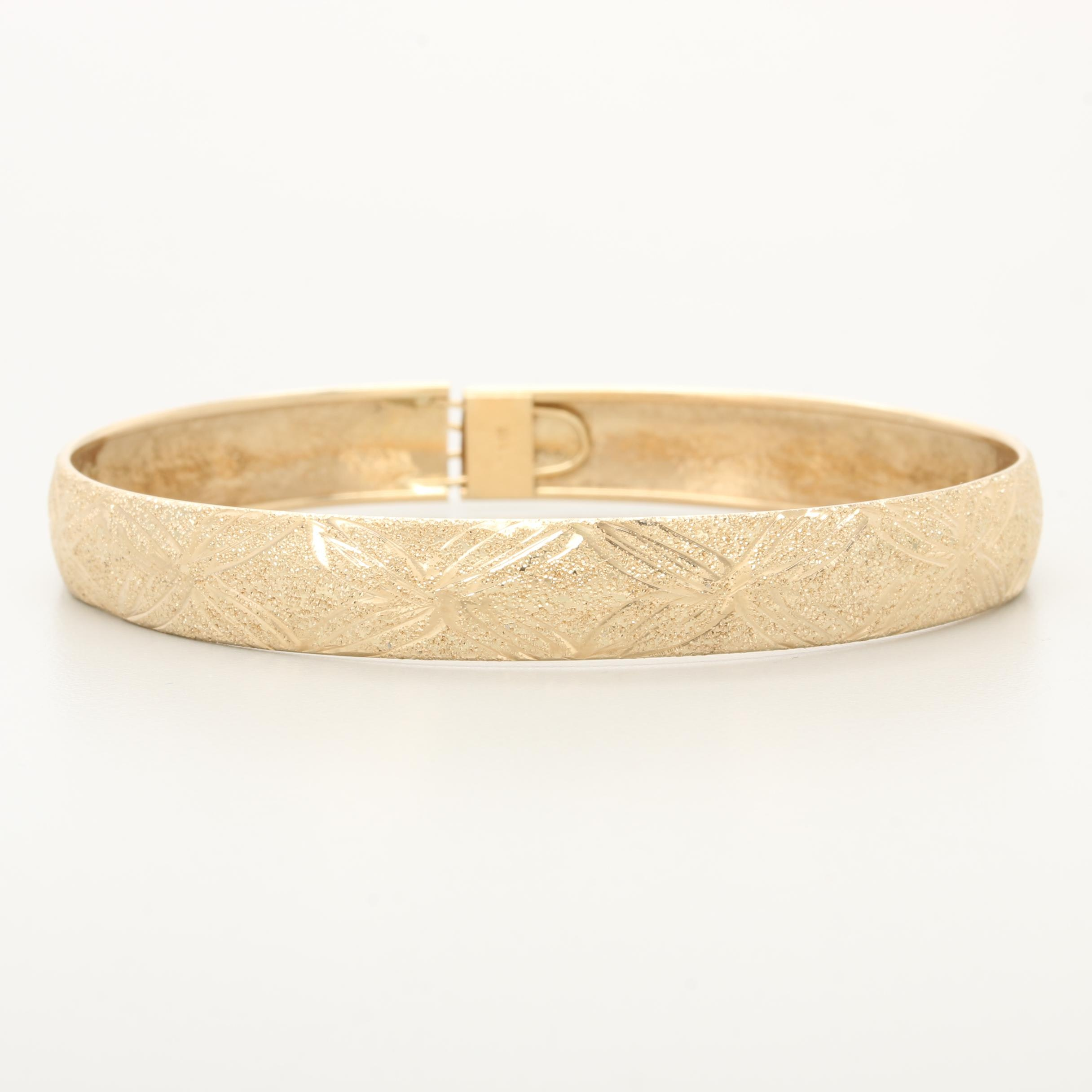 14K Yellow Gold Textured Bangle Bracelet