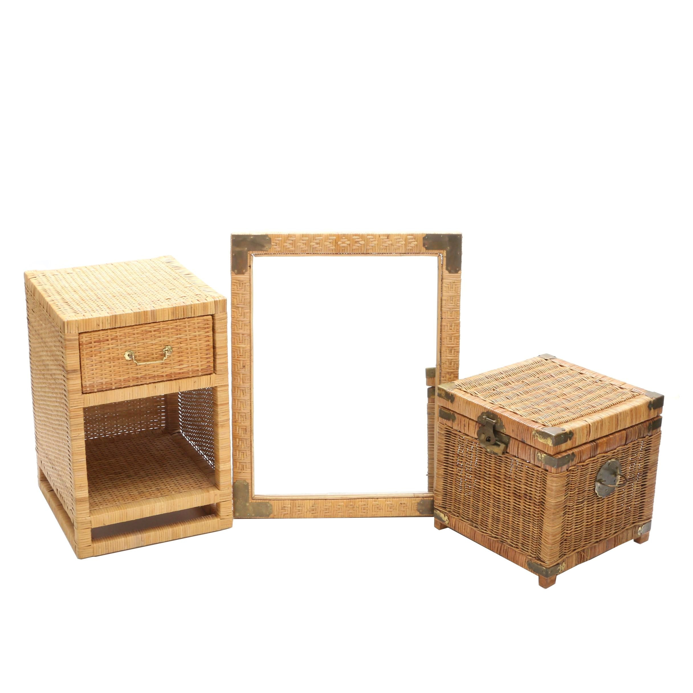 Wicker Mirror, Trunk and End Table