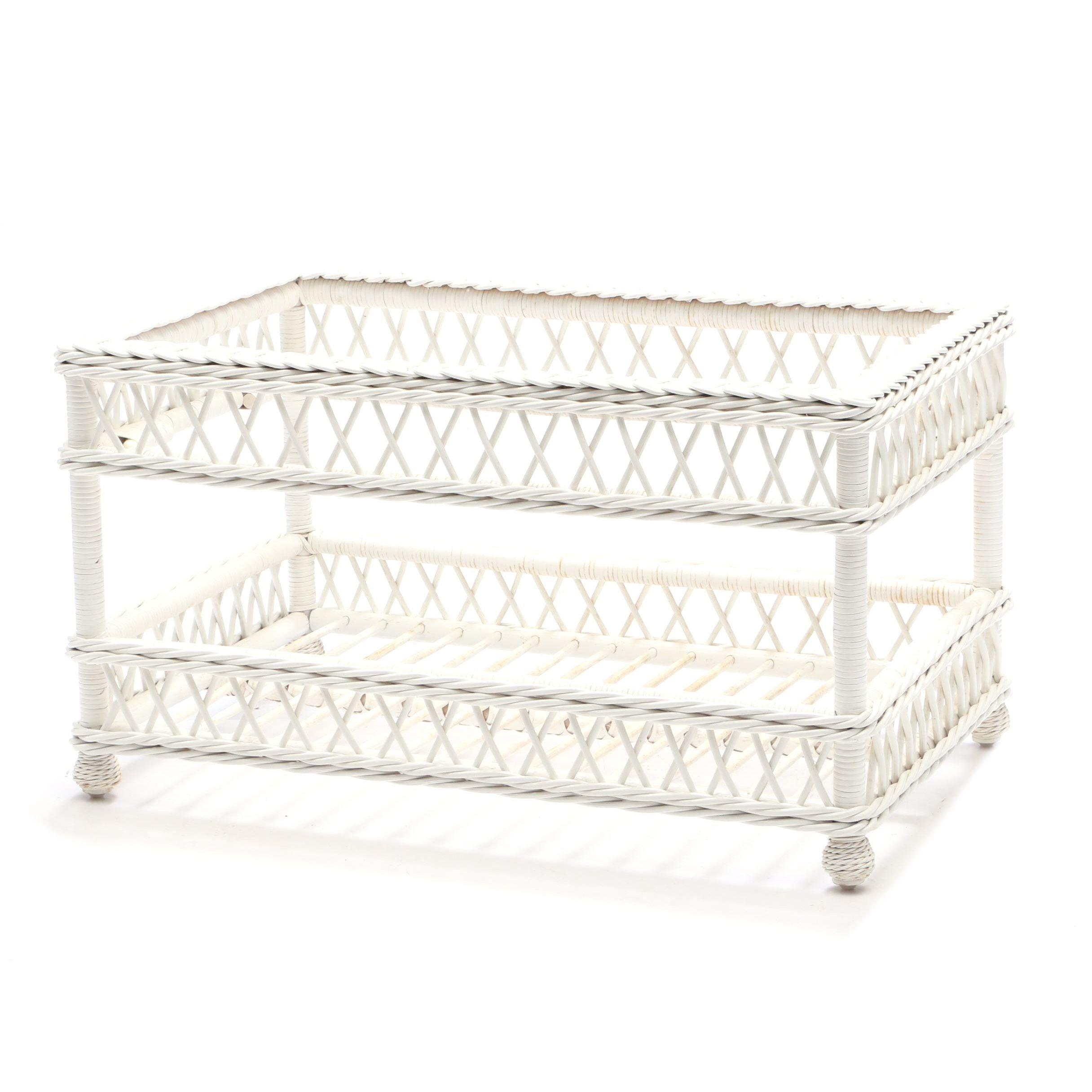 Woven Wicker Bench in White