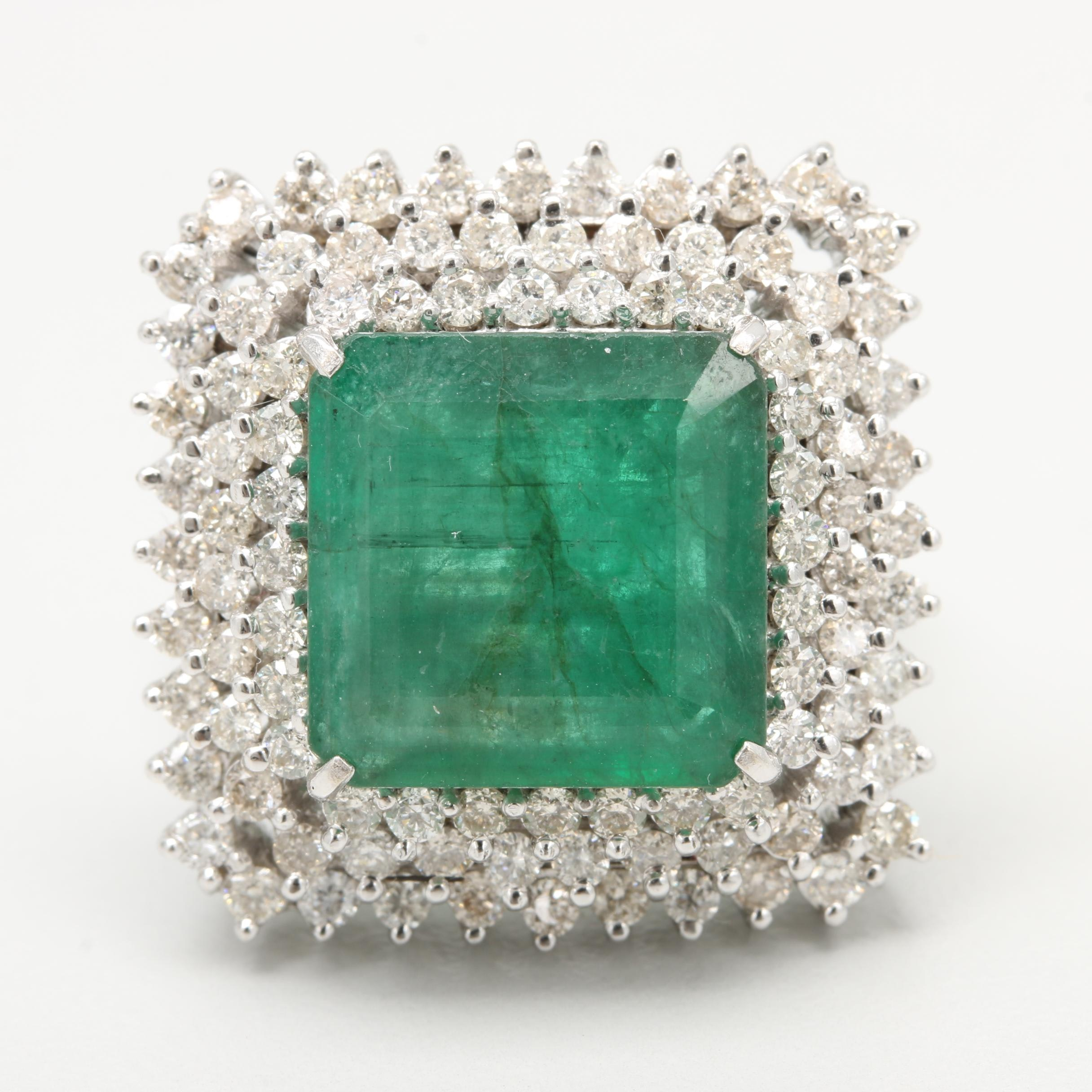 18K White Gold 5.71 CT Emerald and 1.78 CTW Diamond Cocktail Ring