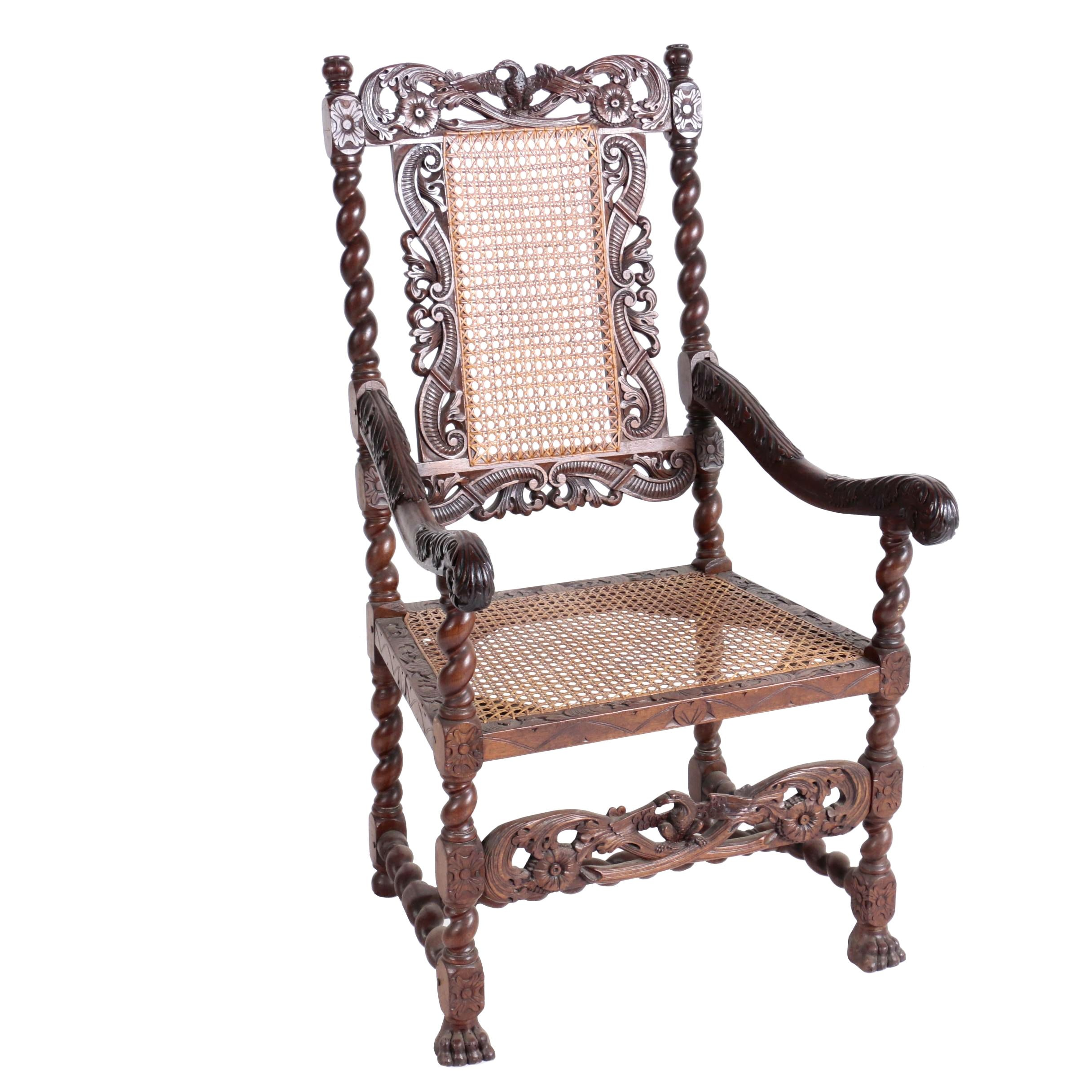 Jacobean Revival Walnut and Caned Open Armchair, Late 19th Century