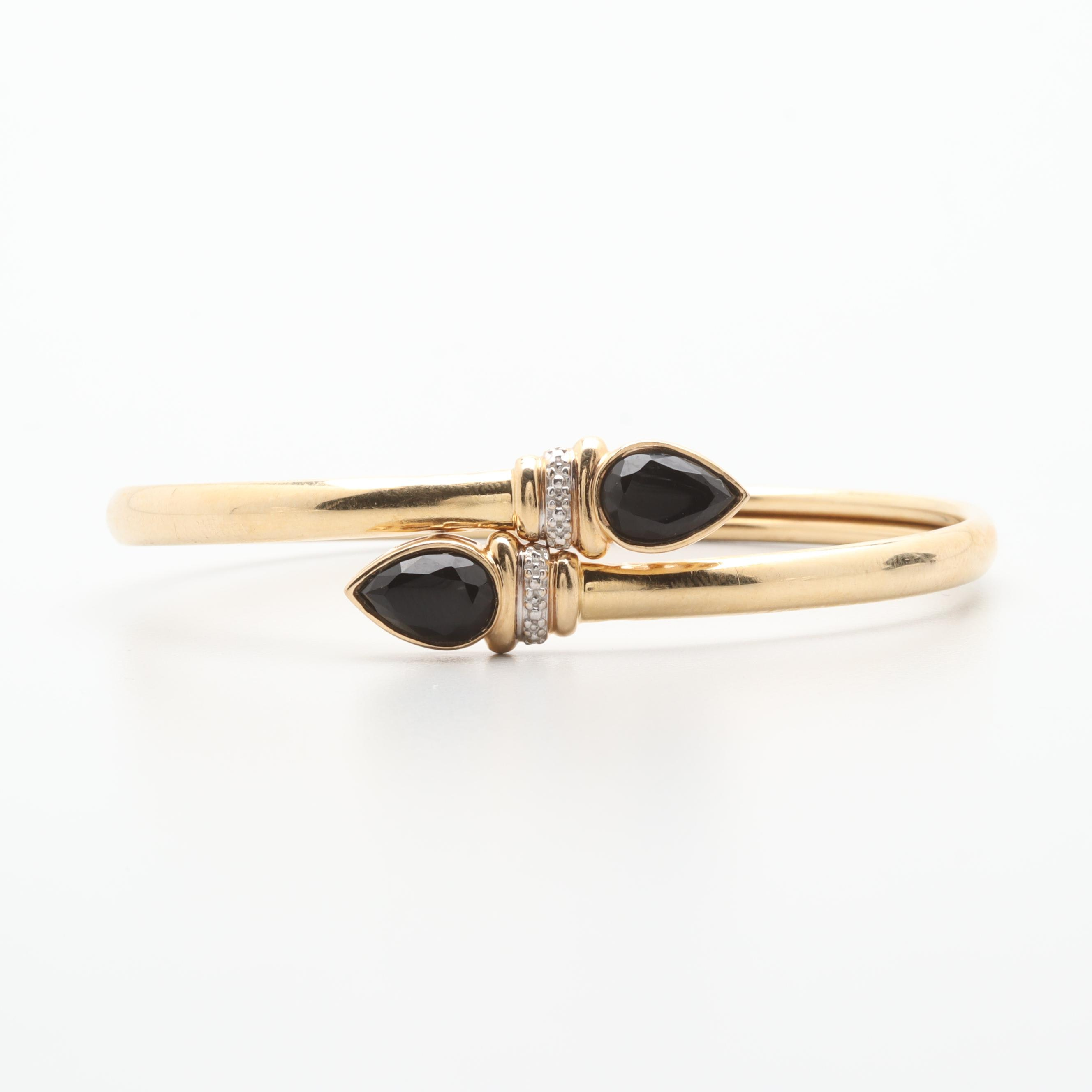 14K Yellow Gold Black Onyx Bypass Bracelet