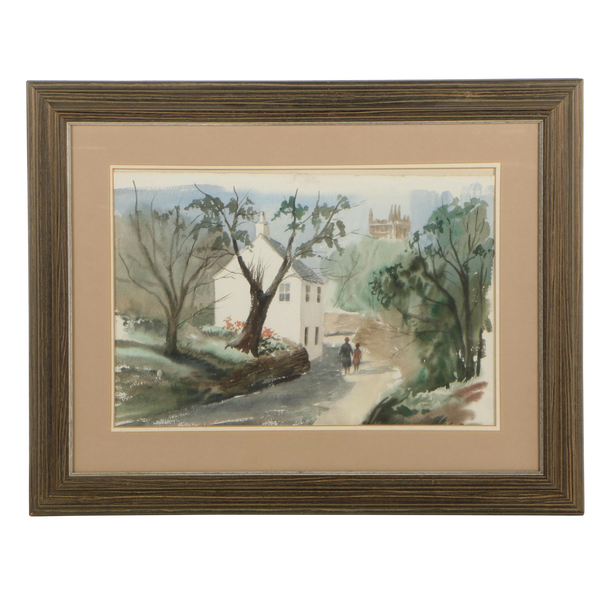 Late 20th Century Watercolor Painting
