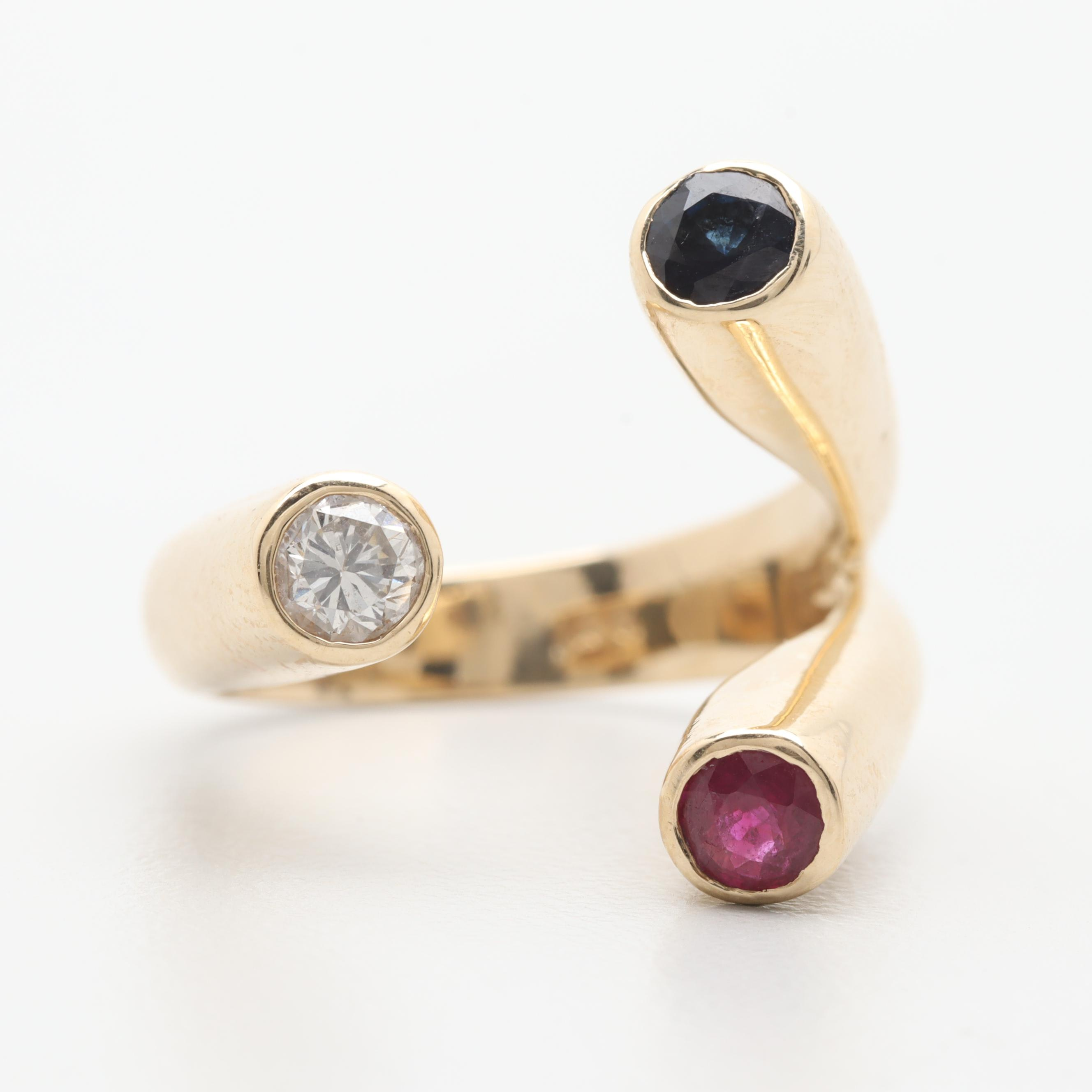 Contemporary 14K Yellow Gold Diamond, Ruby and Sapphire Ring