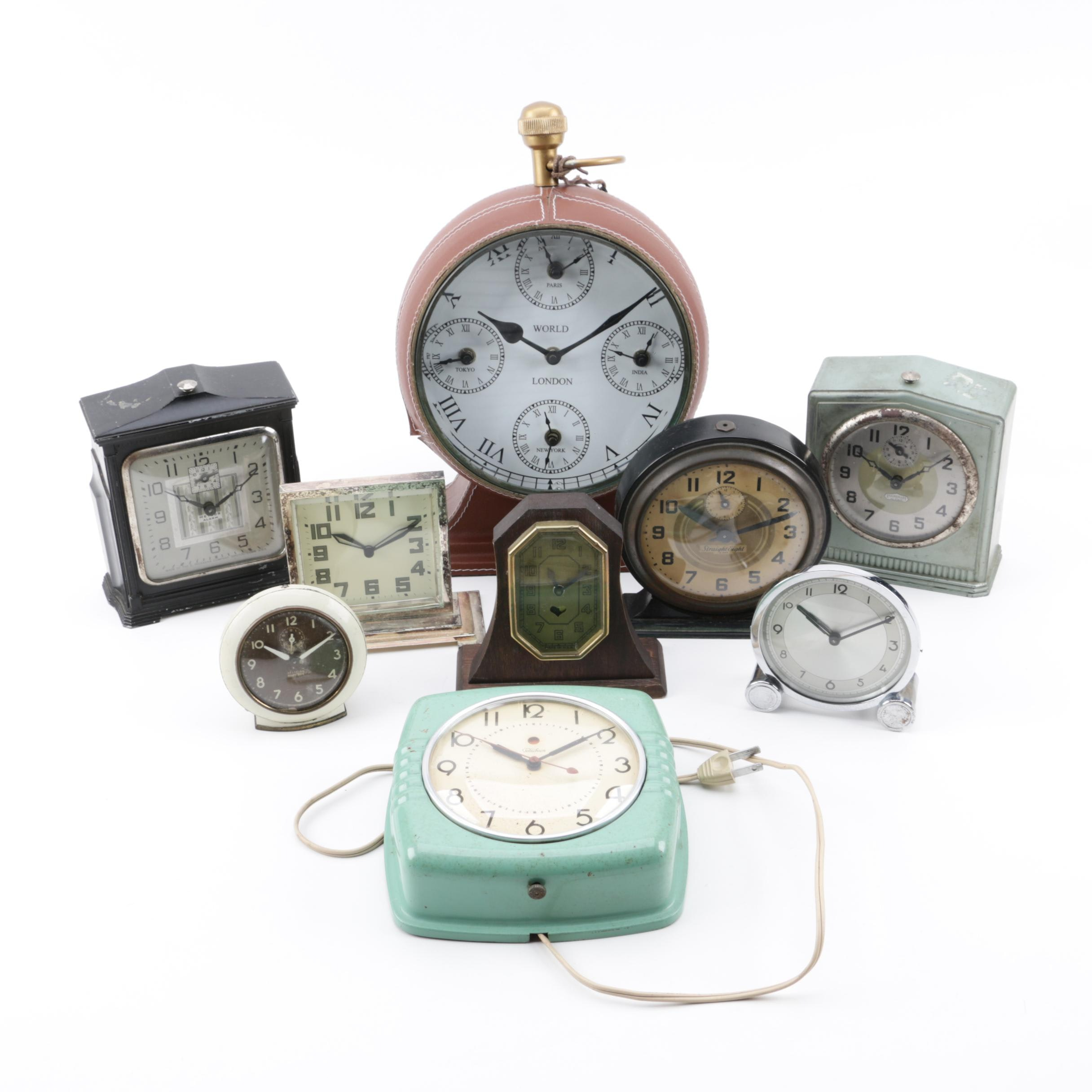 Desk and Wall Clocks including Ingraham, Telechrom, and Pottery Barn