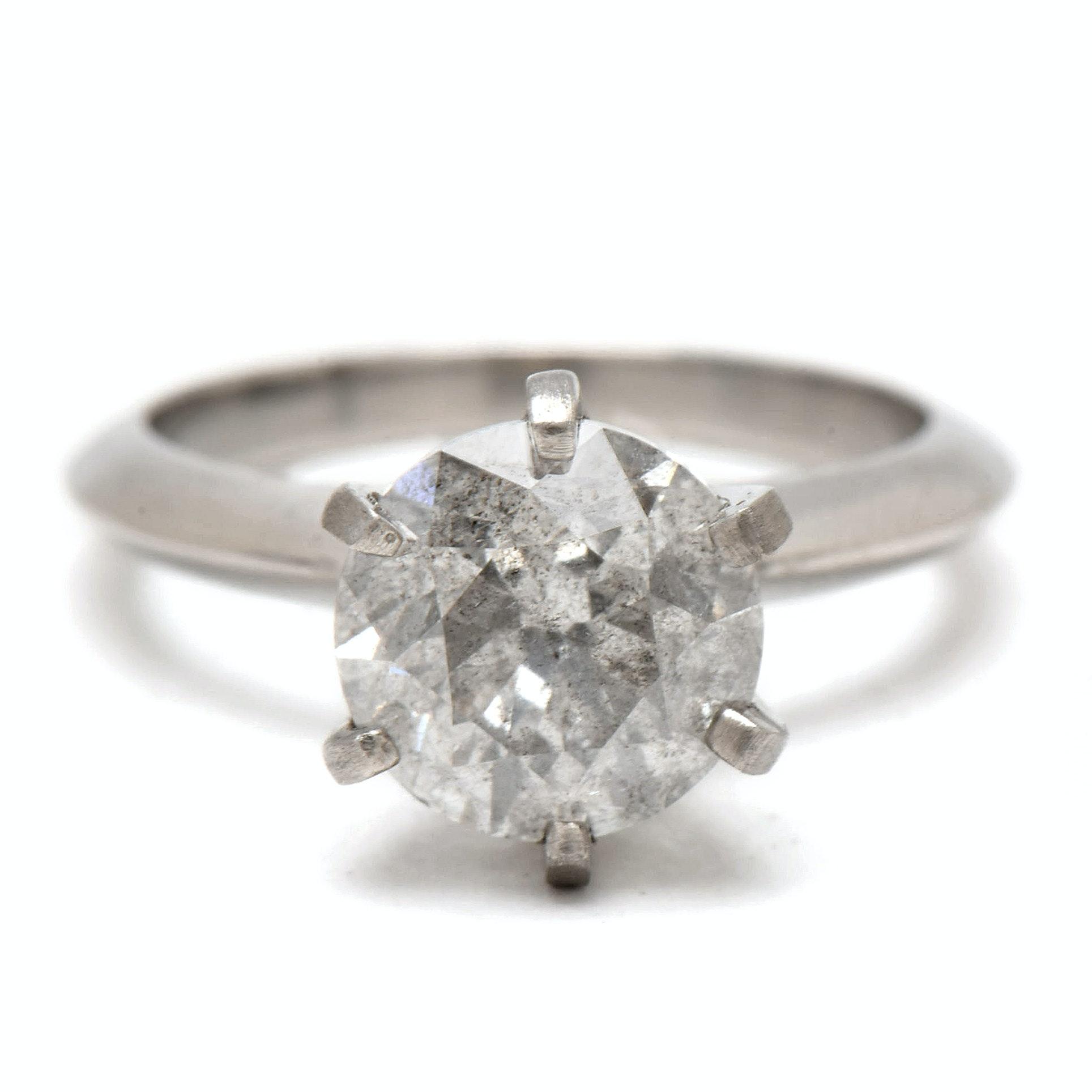 Platinum 3.15 CT Diamond Solitaire Ring