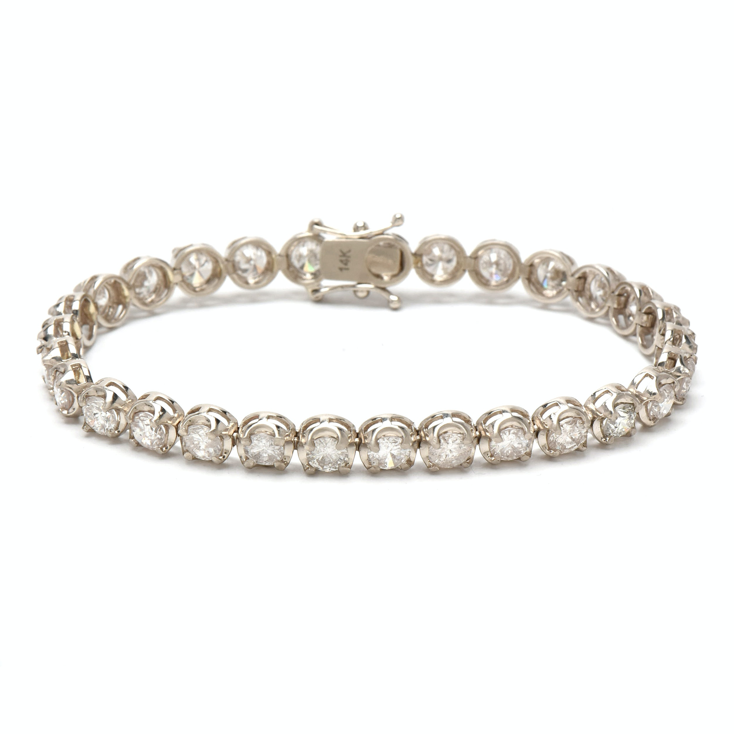 14K White Gold 9.55 CTW Diamond Tennis Bracelet